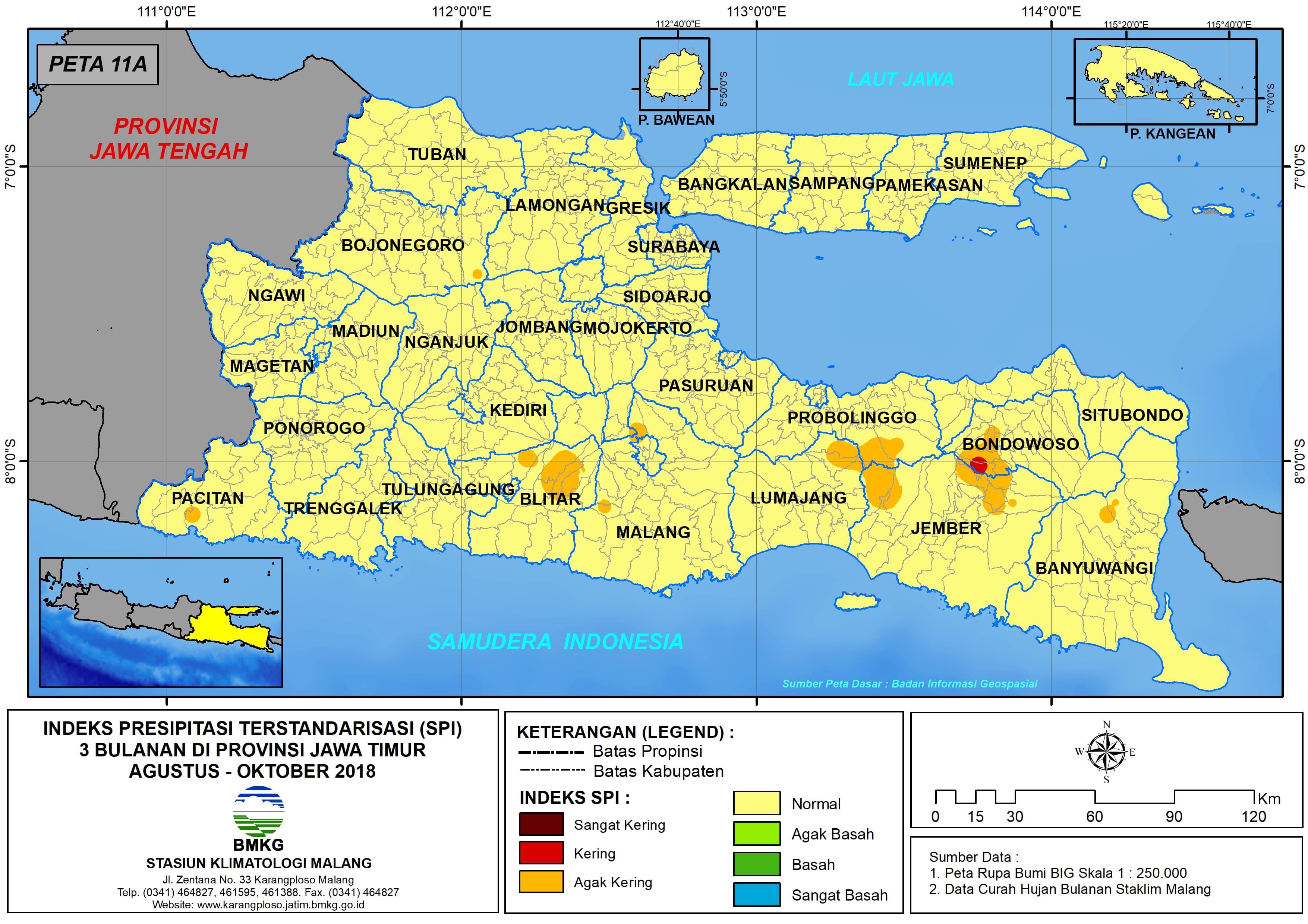 Analisis Indeks Presipitasi Terstandarisasi SPI 3 Bulanan Untuk Bulan Agustus September Oktober Tahun 2018 di Provinsi Jawa Timur