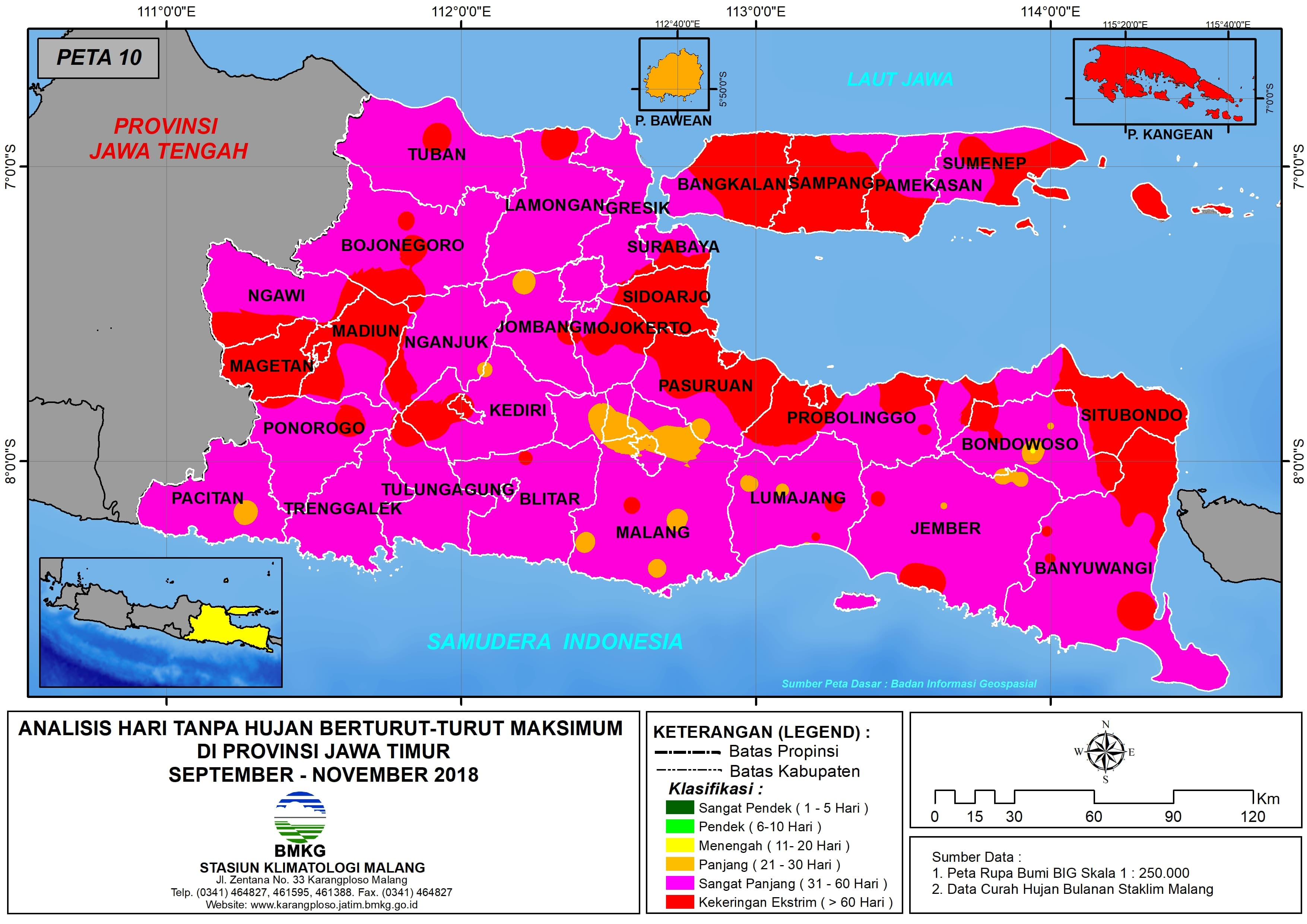Analisis Indeks Presipitasi Terstandarisasi SPI 3 Bulanan Untuk Bulan September Oktober Nopember Tahun 2018 di Provinsi Jawa Timur