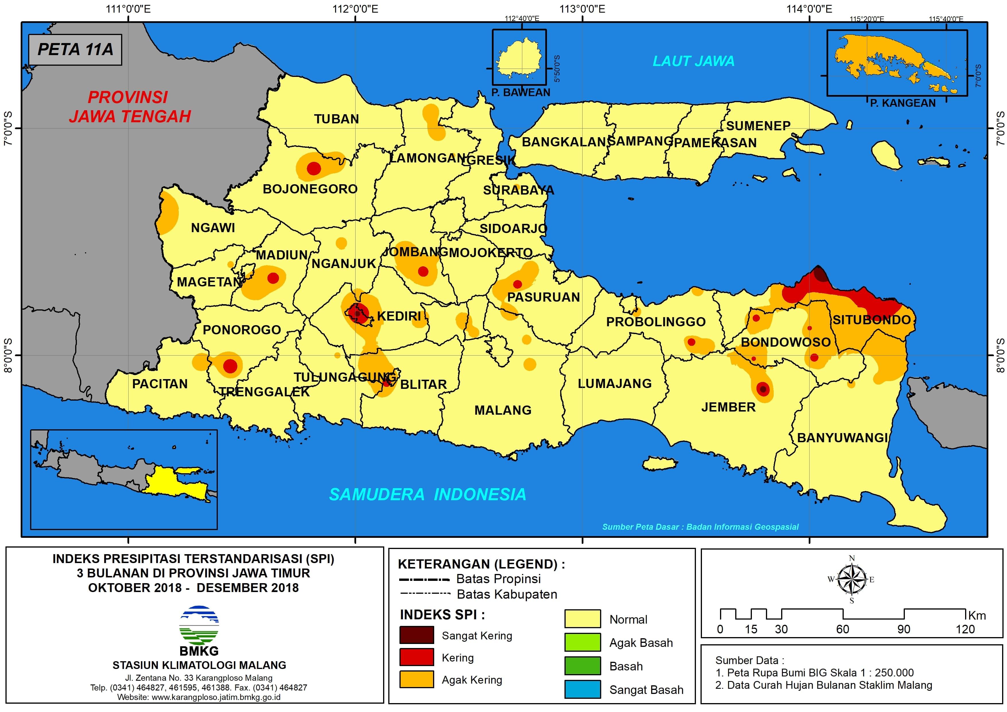 Analisis Indeks Presipitasi Terstandarisasi SPI 3 Bulanan Untuk Bulan Oktober Nopember Desember Tahun 2018 di Provinsi Jawa Timur