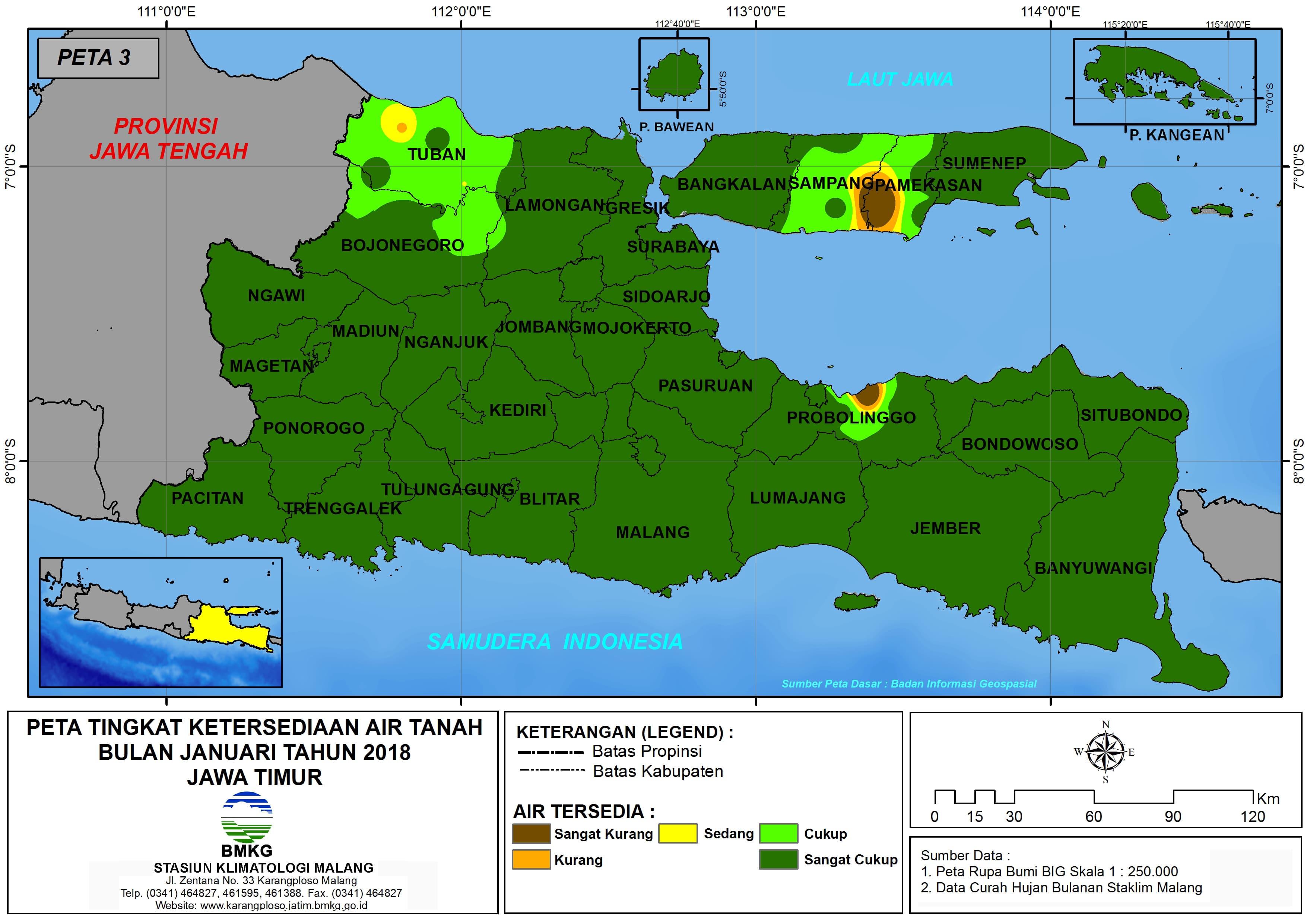 Analisis Tingkat Ketersediaan Air Tanah Bulan Januari Tahun 2018 di Provinsi Jawa Timur
