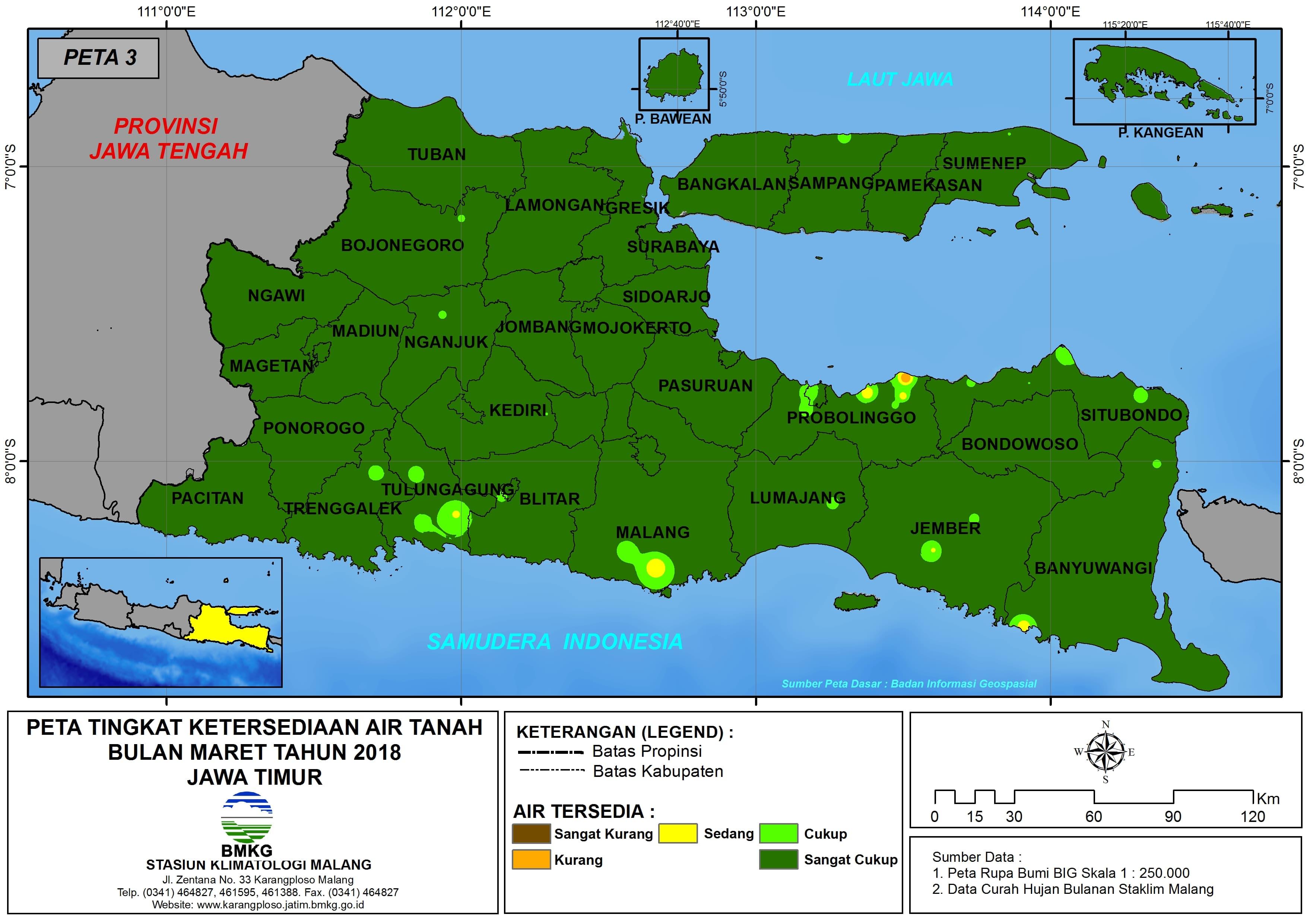 Analisis Tingkat Ketersediaan Air Tanah Bulan Maret Tahun 2018 di Provinsi Jawa Timur