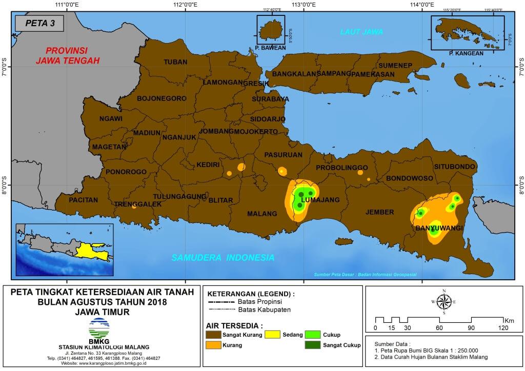 Analisis Tingkat Ketersediaan Air Tanah Bulan Agustus Tahun 2018 di Provinsi Jawa Timur