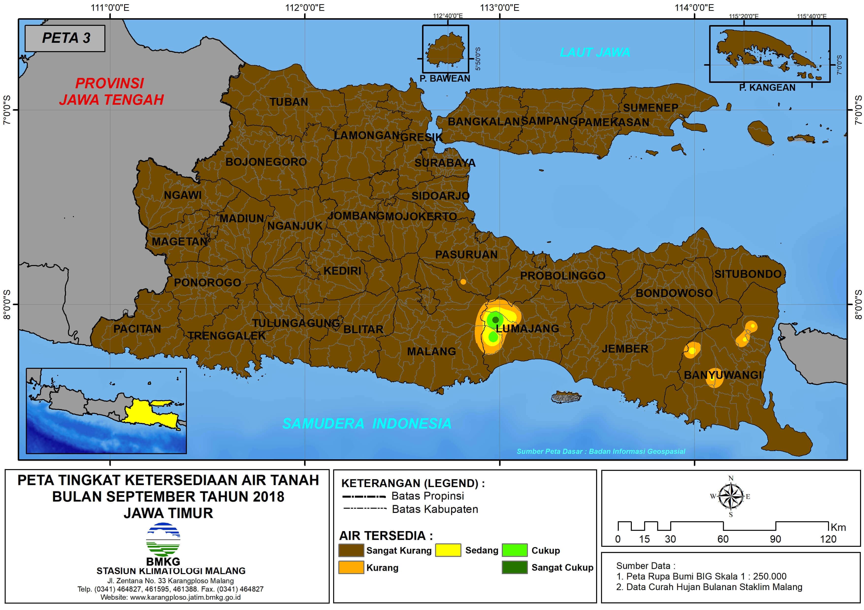 Analisis Tingkat Ketersediaan Air Tanah Bulan September Tahun 2018 di Provinsi Jawa Timur