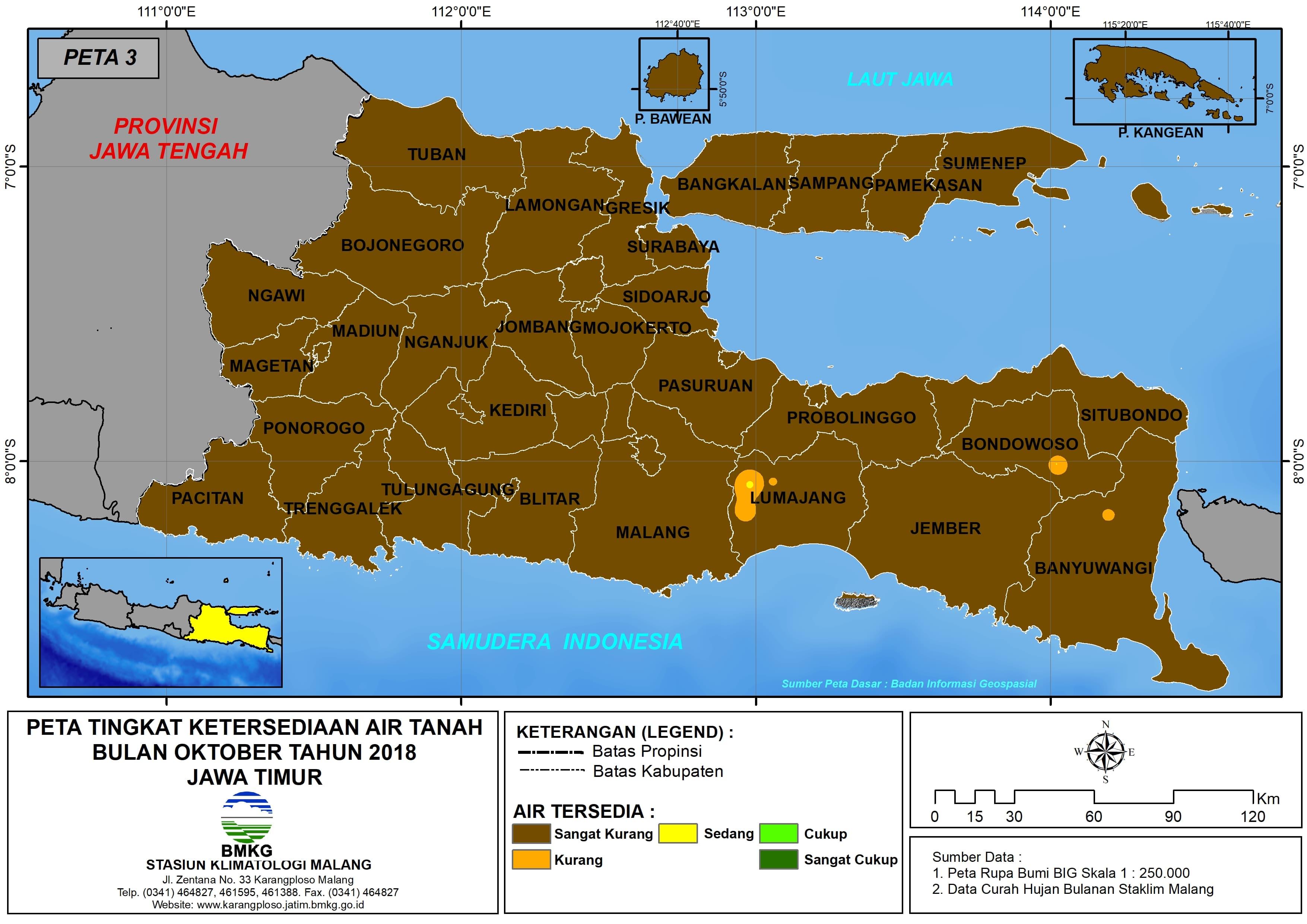 Analisis Tingkat Ketersediaan Air Tanah Bulan Oktober Tahun 2018 di Provinsi Jawa Timur