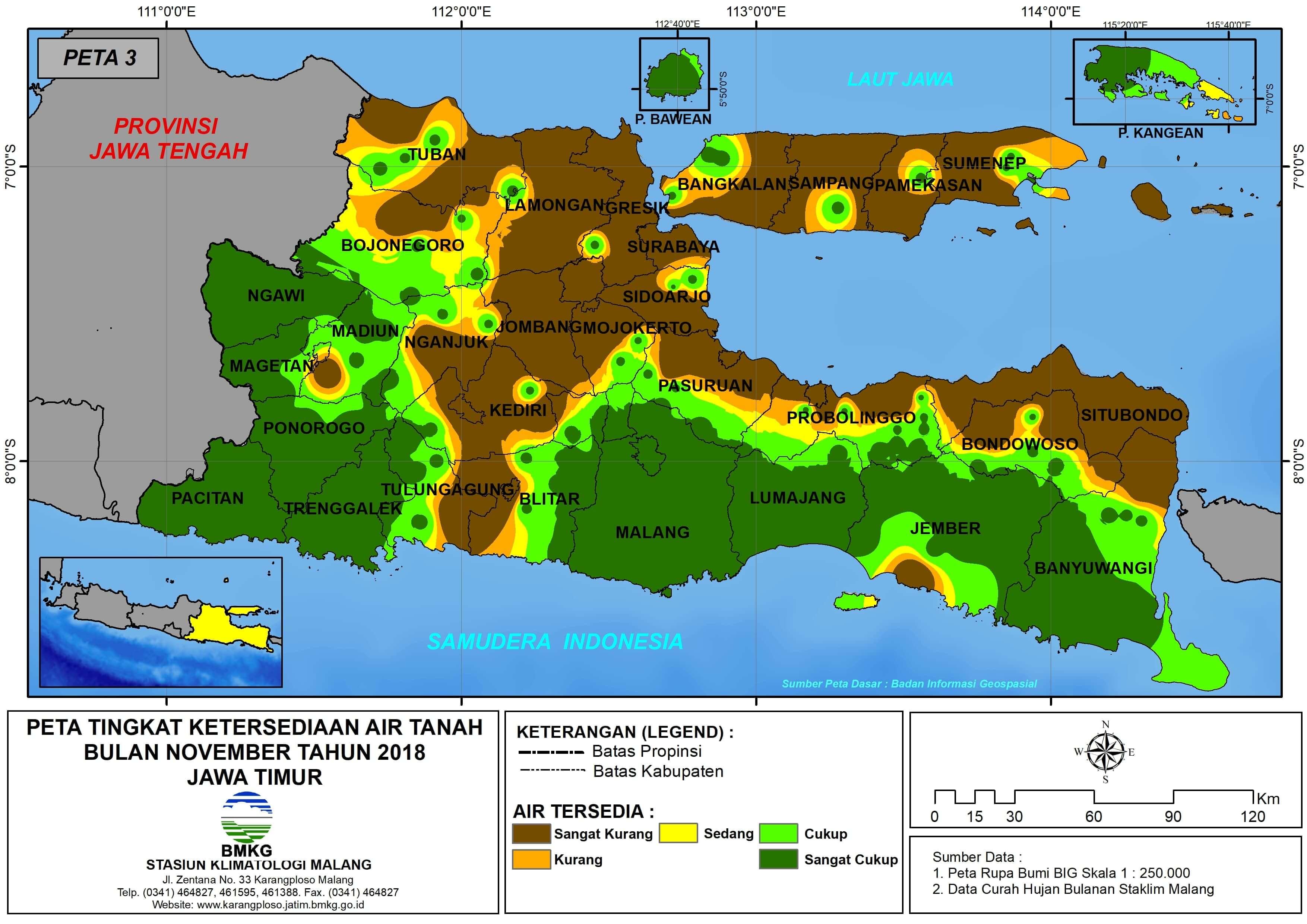 Analisis Tingkat Ketersediaan Air Tanah Bulan Nopember Tahun 2018 di Provinsi Jawa Timur