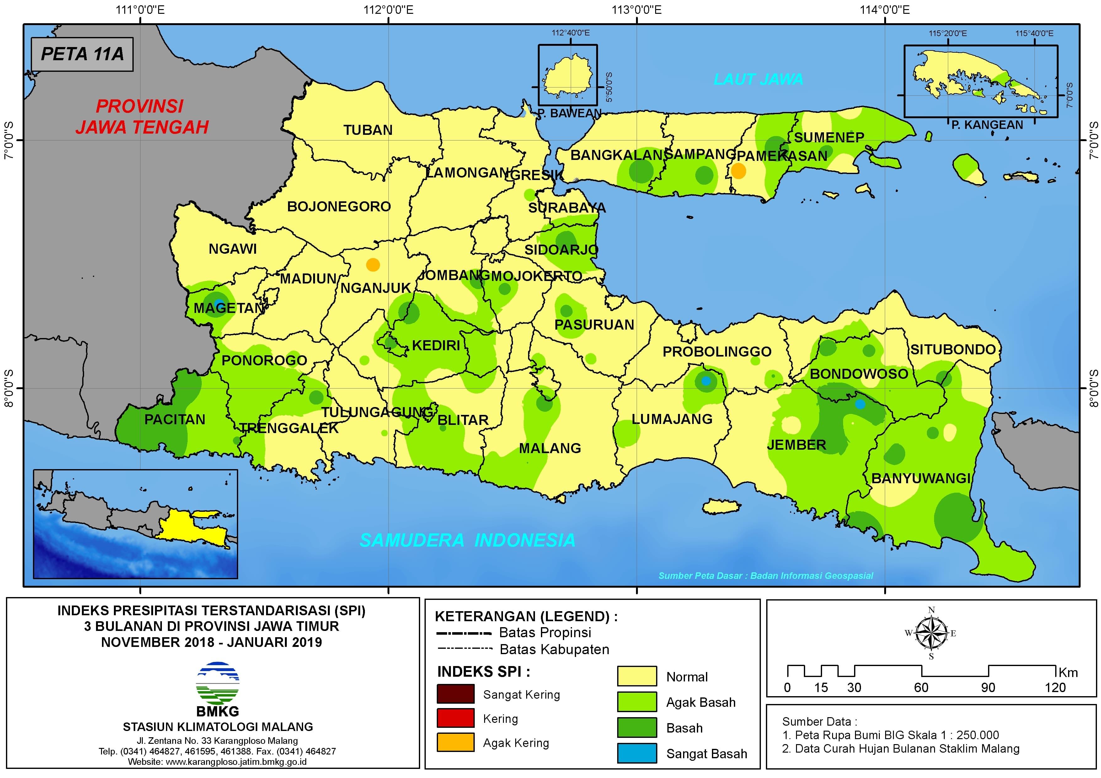 Analisis Indeks Presipitasi Terstandarisasi (SPI) 3 Bulanan Bulan November Desember Tahun 2018 Bulan Januari Tahun 2019 di Provinsi Jawa Timur