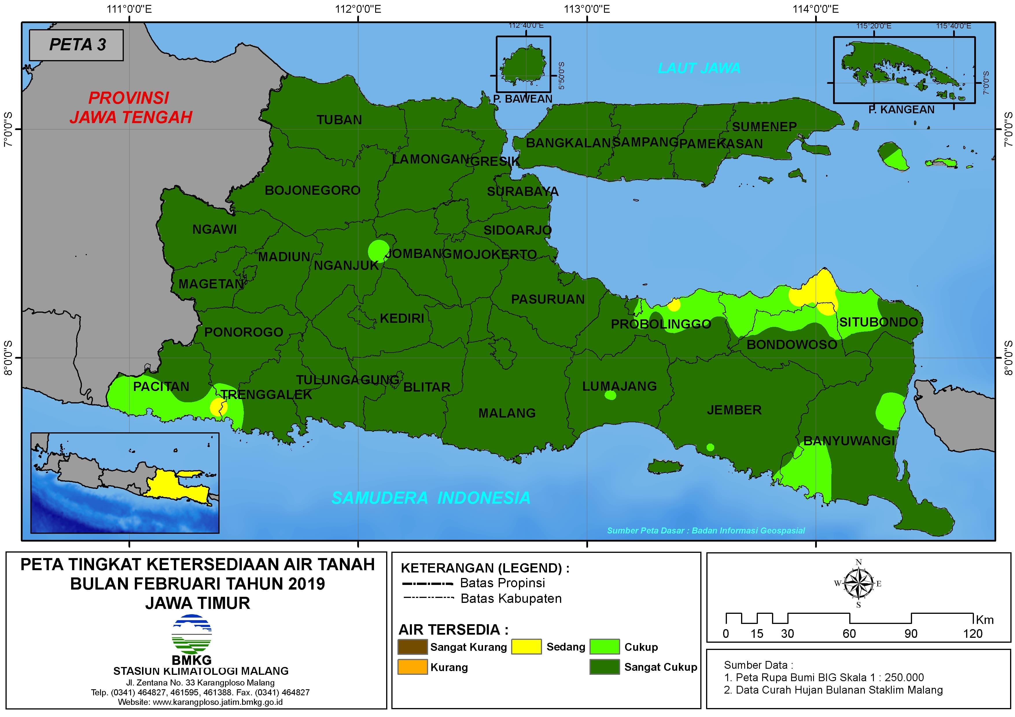 Analisis Tingkat Ketersediaan Air Tanah Bulan Februari Tahun 2019 di Provinsi Jawa Timur