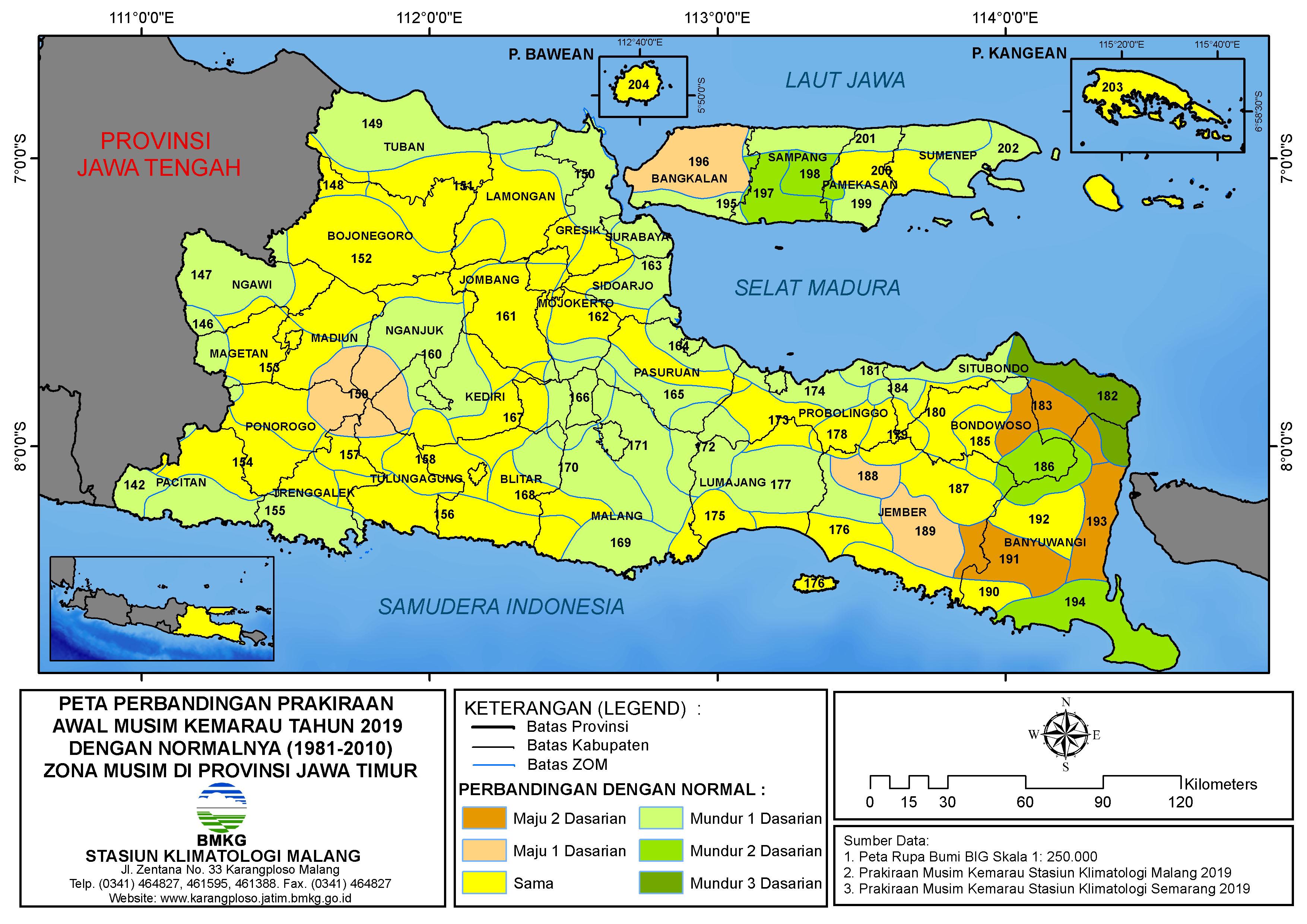 Peta Perbandingan Prakiraan Awal Musim Kemarau Tahun 2019 dengan Normalnya 1981 2010 Zona Musim di Provinsi Jawa Timur