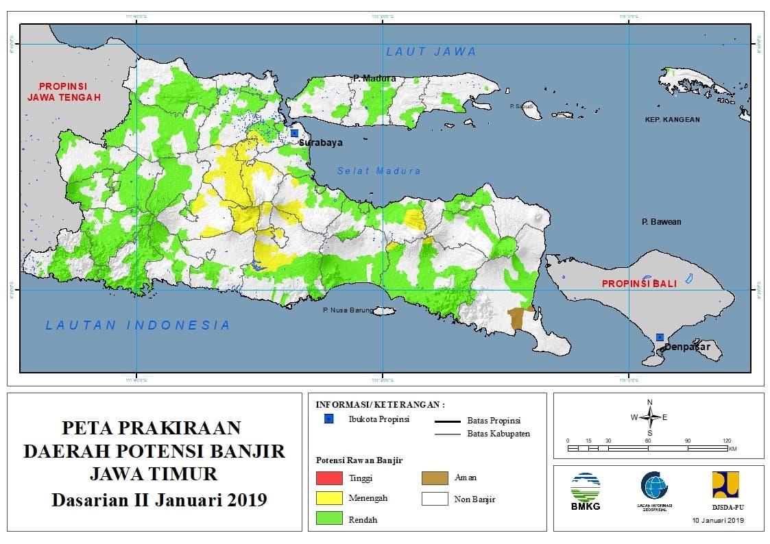 01 Prakiraan Dasarian Daerah Potensi Banjir di Provinsi Jawa Timur DASARIAN II Bulan JANUARI Tahun 2019 update 10 Januari 2019