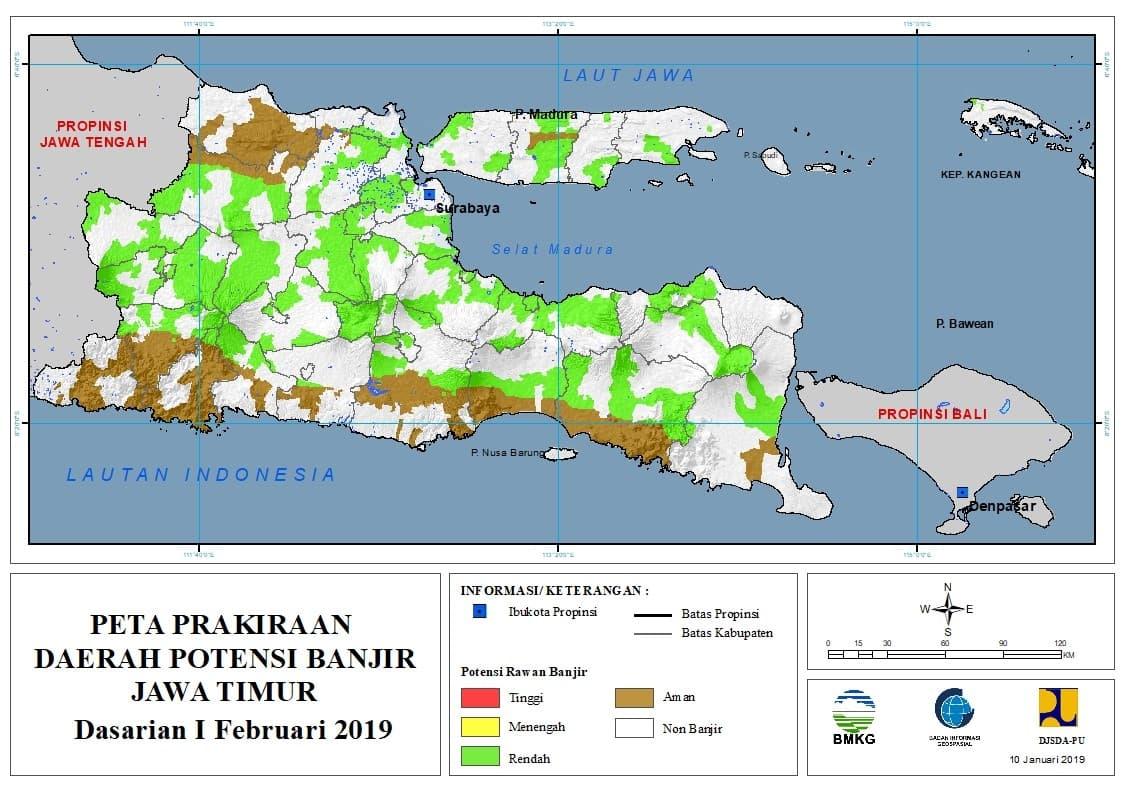 03 Prakiraan Dasarian Daerah Potensi Banjir di Provinsi Jawa Timur DASARIAN I Bulan FEBRUARI Tahun 2019 update 10 Januari 2019