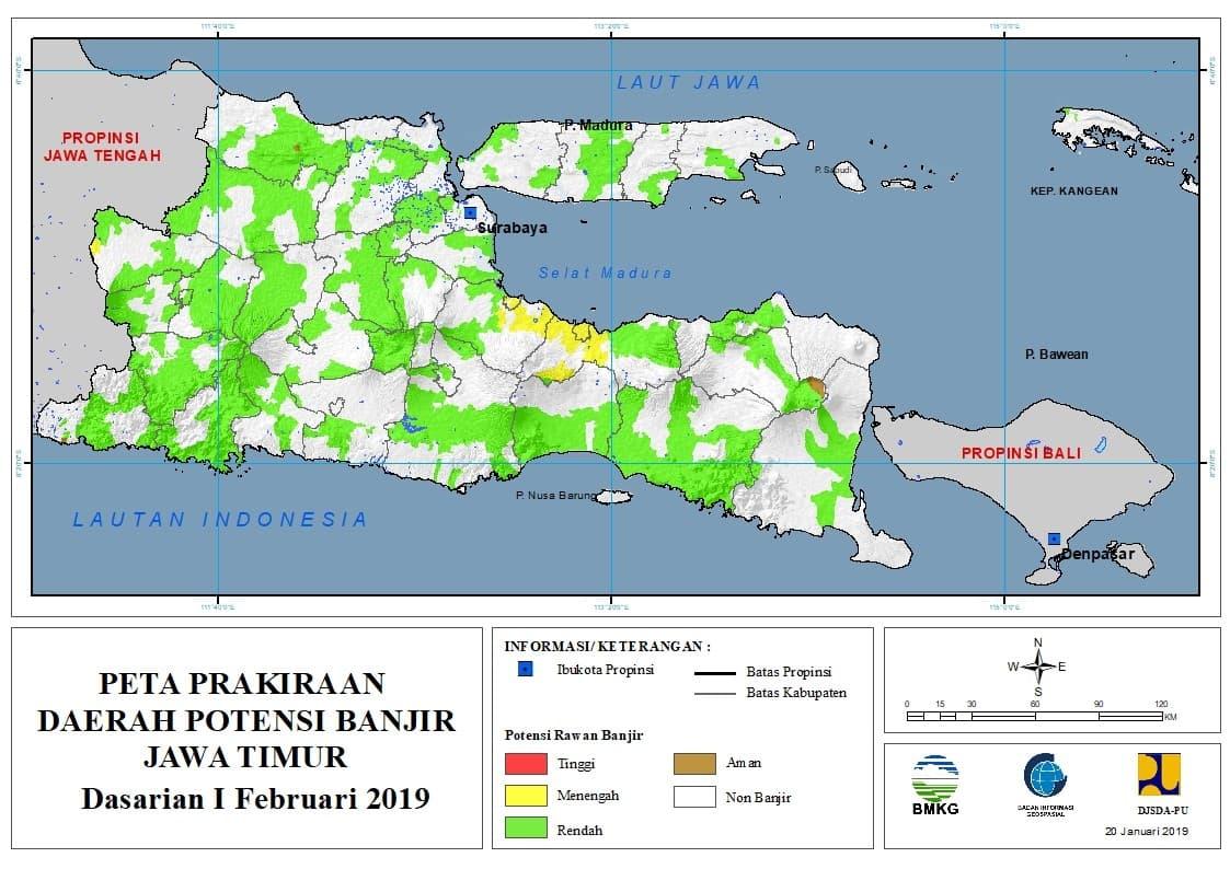 02 Prakiraan Dasarian Daerah Potensi Banjir di Provinsi Jawa Timur DASARIAN I Bulan FEBRUARI Tahun 2019 update 20 Januari 2019