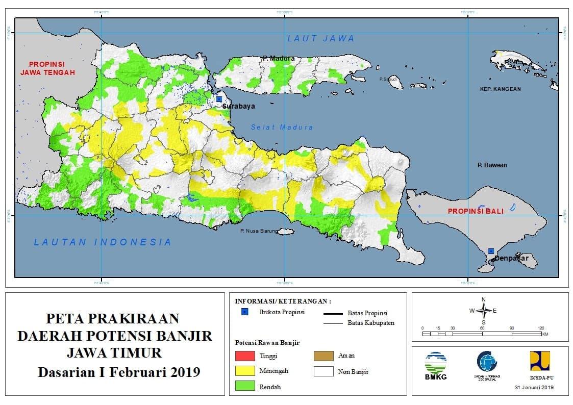 01 Prakiraan Dasarian Daerah Potensi Banjir di Provinsi Jawa Timur DASARIAN I Bulan FEBRUARI Tahun 2019 update 31 Januari 2019