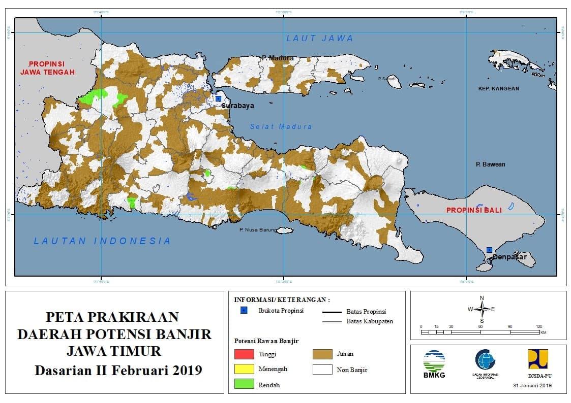 02 Prakiraan Dasarian Daerah Potensi Banjir di Provinsi Jawa Timur DASARIAN II Bulan FEBRUARI Tahun 2019 update 31 Januari 2019