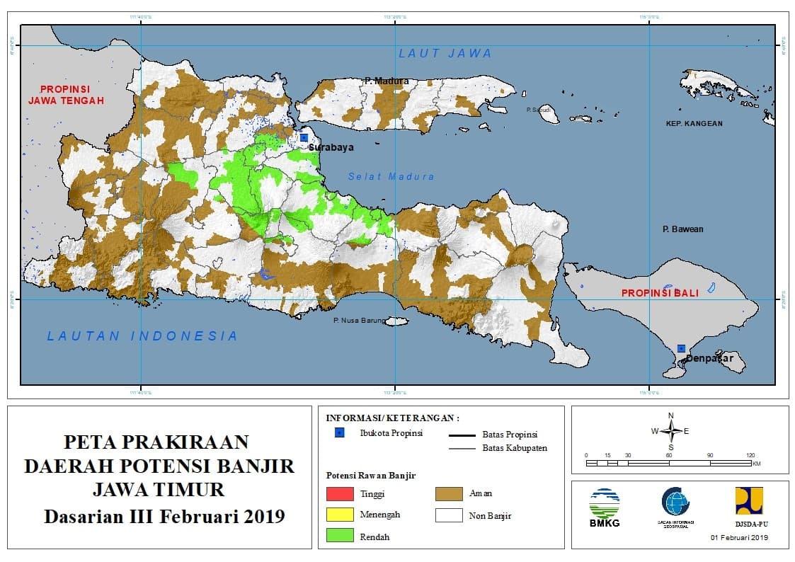 03 Prakiraan Dasarian Daerah Potensi Banjir di Provinsi Jawa Timur DASARIAN III Bulan FEBRUARI Tahun 2019 update 31 Januari 2019