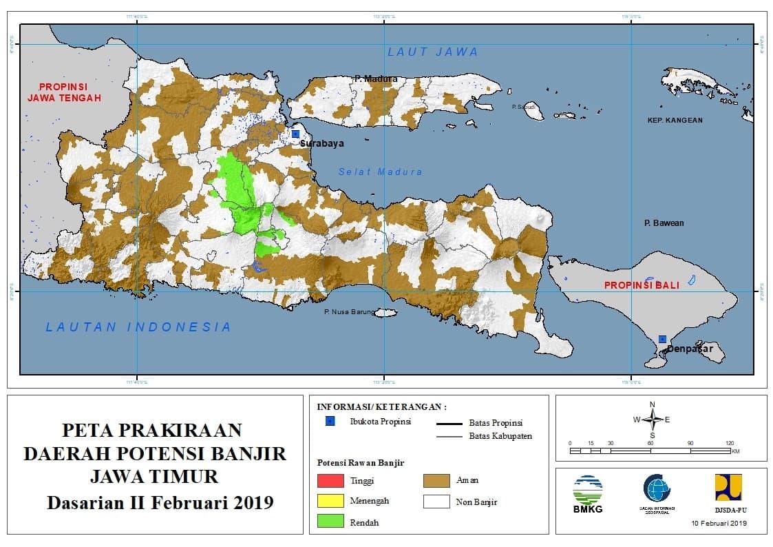01 Prakiraan Dasarian Daerah Potensi Banjir di Provinsi Jawa Timur DASARIAN II Bulan FEBRUARI Tahun 2019 update 10 Februari 2019