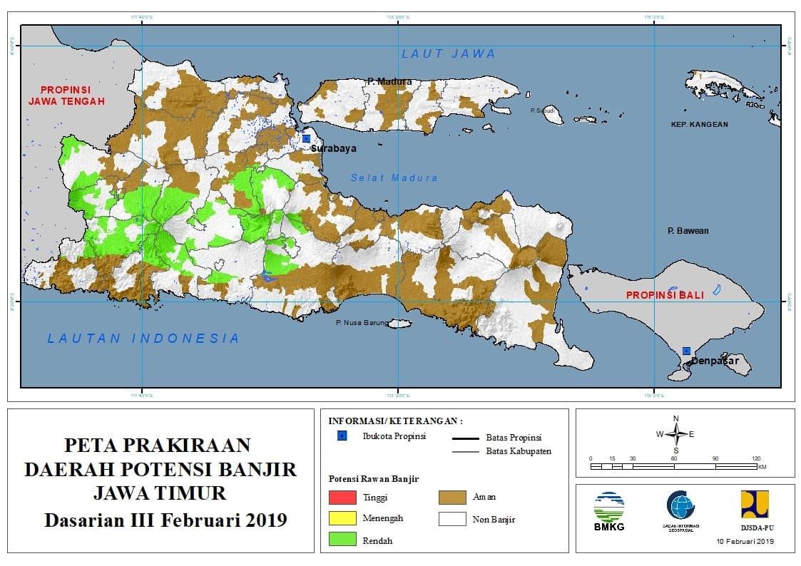 02 Prakiraan Dasarian Daerah Potensi Banjir di Provinsi Jawa Timur DASARIAN III Bulan FEBRUARI Tahun 2019 update 10 Februari 2019