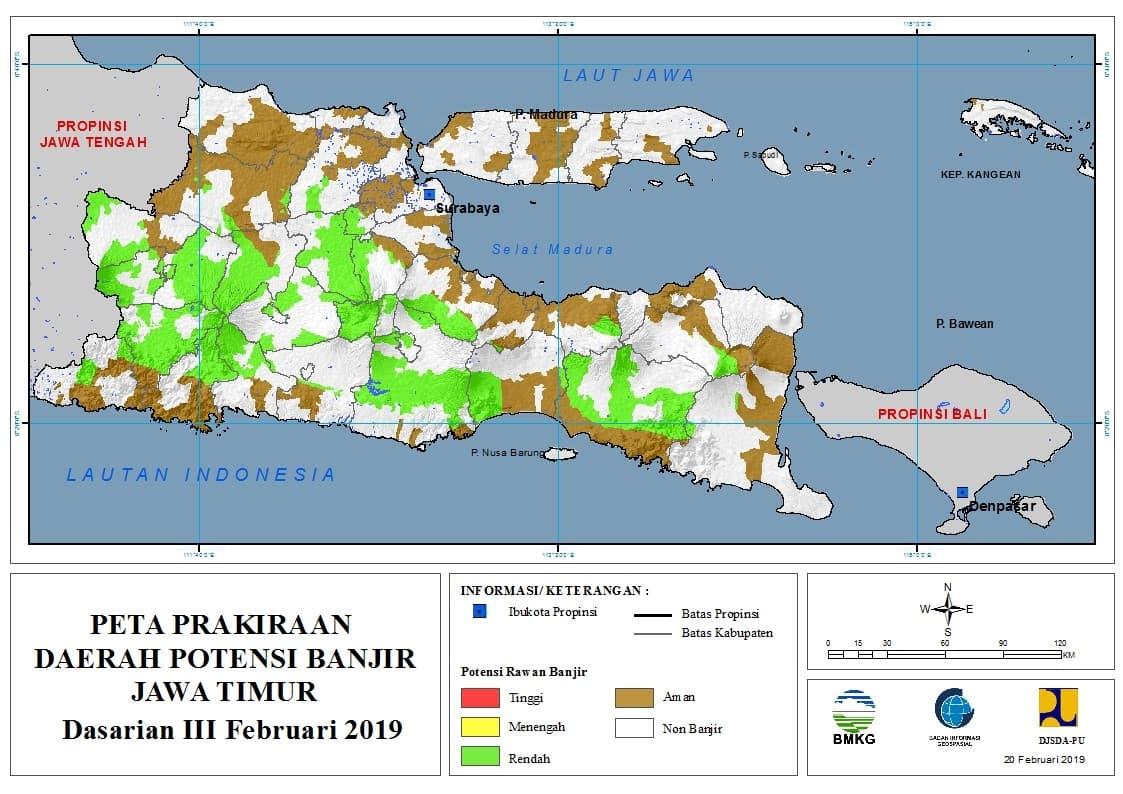 01 Prakiraan Dasarian Daerah Potensi Banjir di Provinsi Jawa Timur DASARIAN III Bulan FEBRUARI Tahun 2019 update 20 Februari 2019