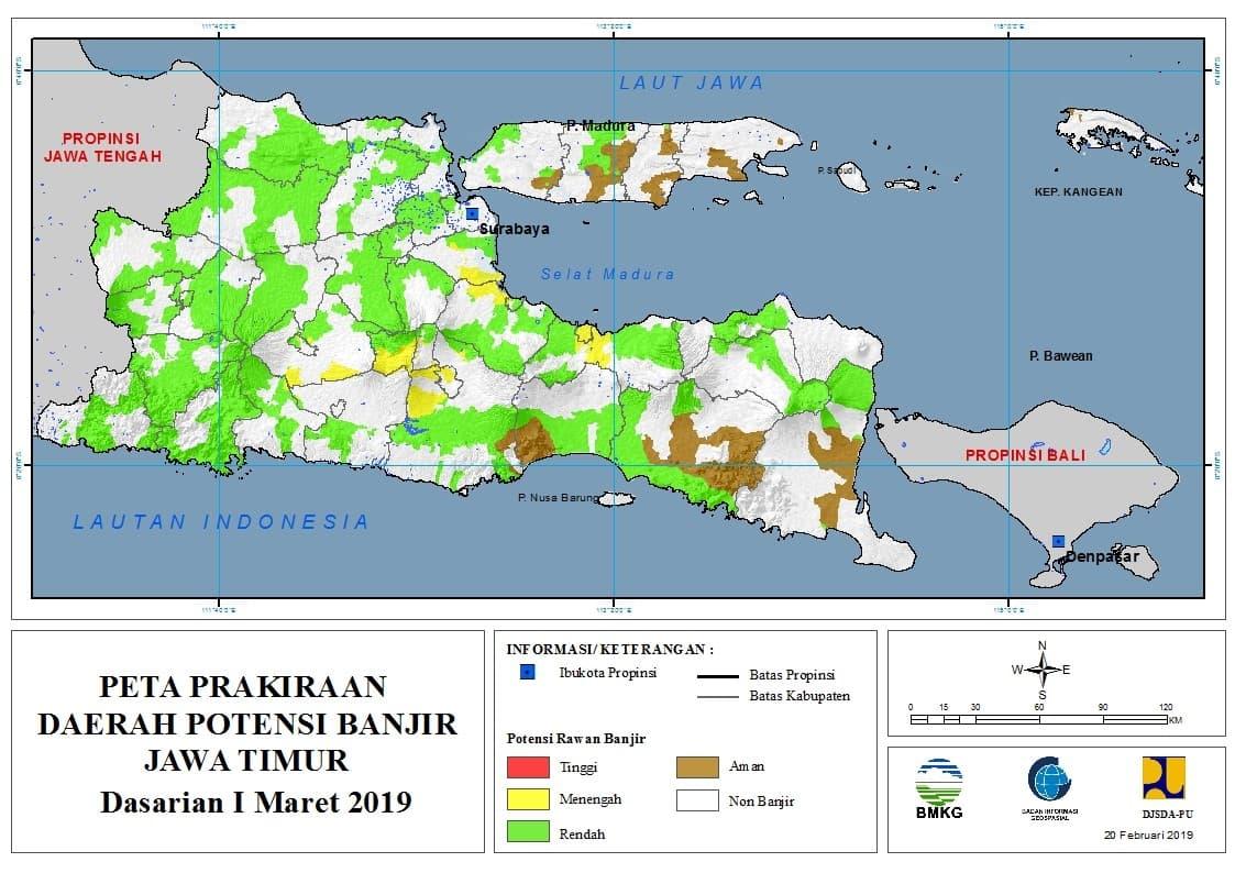 02 Prakiraan Dasarian Daerah Potensi Banjir di Provinsi Jawa Timur DASARIAN I Bulan MARET Tahun 2019 update 20 Februari 2019