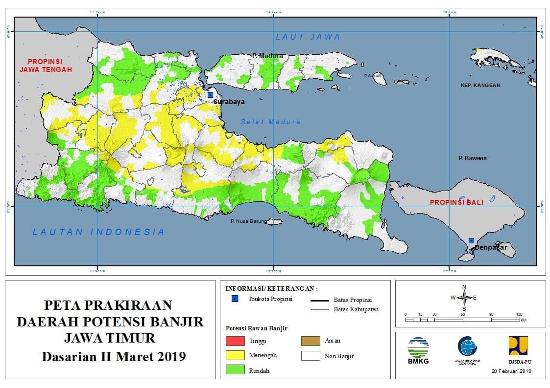 03 Prakiraan Dasarian Daerah Potensi Banjir di Provinsi Jawa Timur DASARIAN II Bulan MARET Tahun 2019 update 20 Februari 2019
