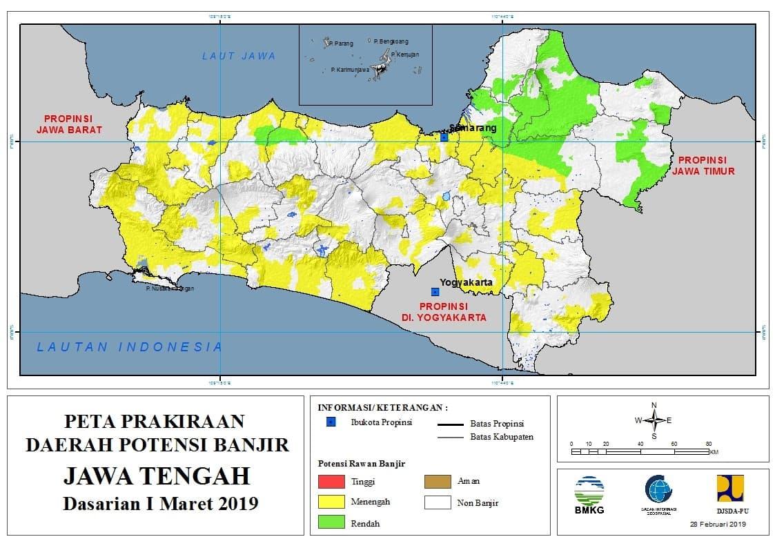 01 Prakiraan Dasarian Daerah Potensi Banjir di Provinsi Jawa Timur DASARIAN I Bulan MARET Tahun 2019 update 28 Februari 2019