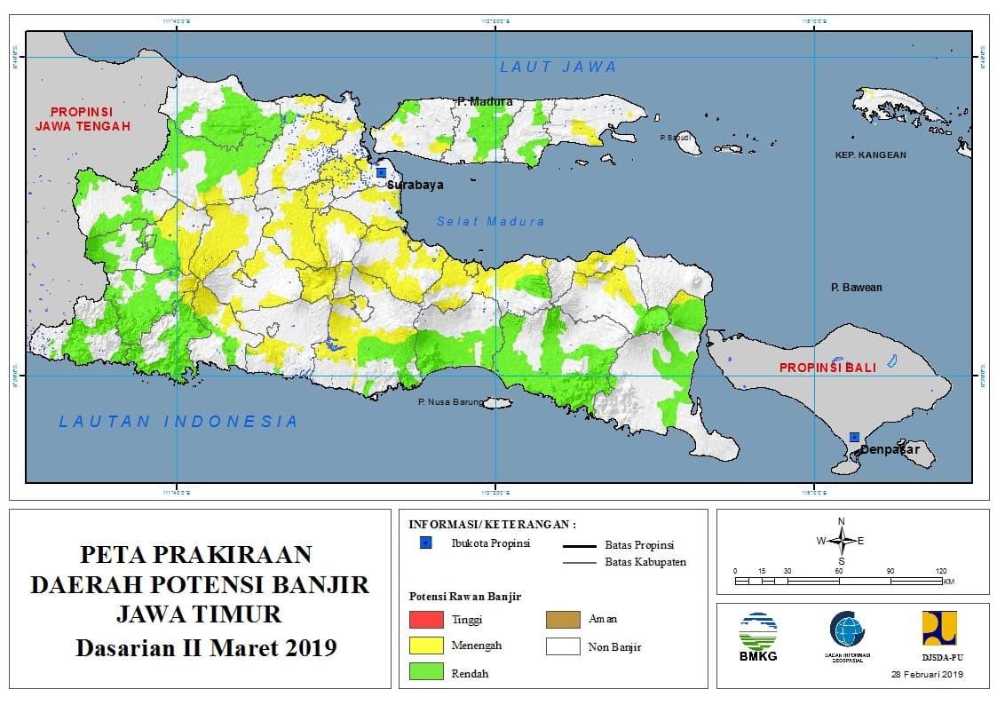02 Prakiraan Dasarian Daerah Potensi Banjir di Provinsi Jawa Timur DASARIAN II Bulan MARET Tahun 2019 update 28 Februari 2019