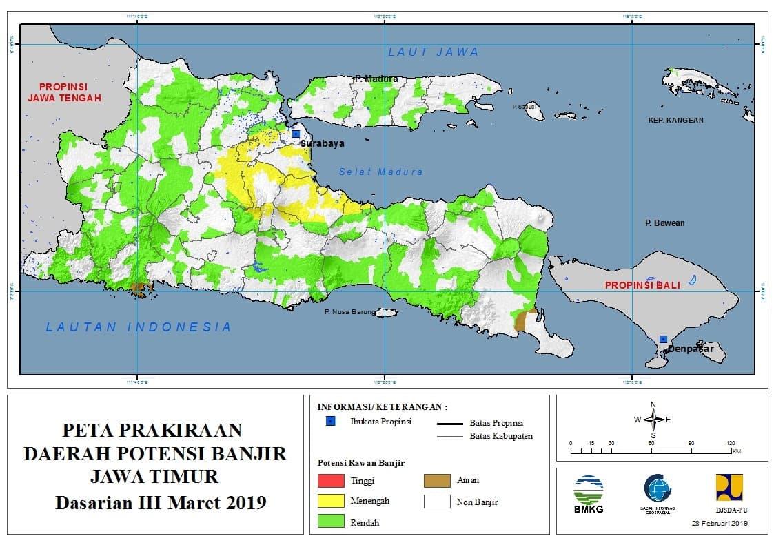 03 Prakiraan Dasarian Daerah Potensi Banjir di Provinsi Jawa Timur DASARIAN III Bulan MARET Tahun 2019 update 28 Februari 2019