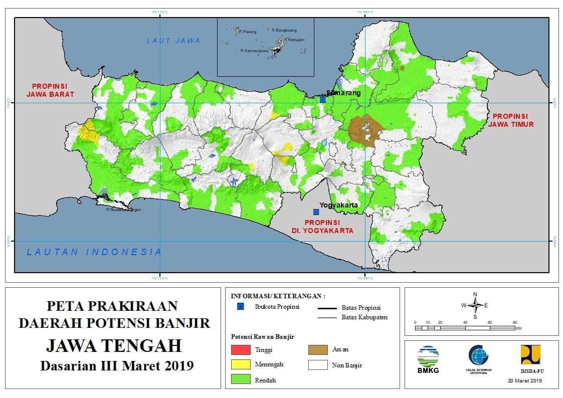 01 Prakiraan Dasarian Daerah Potensi Banjir di Provinsi Jawa Timur DASARIAN III Bulan MARET Tahun 2019 update 20 Maret 2019