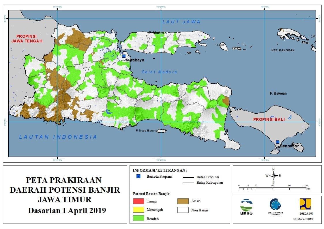 02 Prakiraan Dasarian Daerah Potensi Banjir di Provinsi Jawa Timur DASARIAN I Bulan APRIL Tahun 2019 update 20 Maret 2019