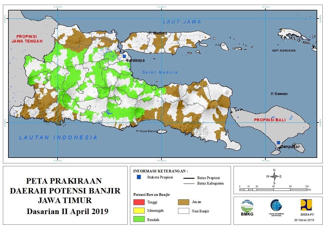 03 Prakiraan Dasarian Daerah Potensi Banjir di Provinsi Jawa Timur DASARIAN II Bulan APRIL Tahun 2019 update 20 Maret 2019