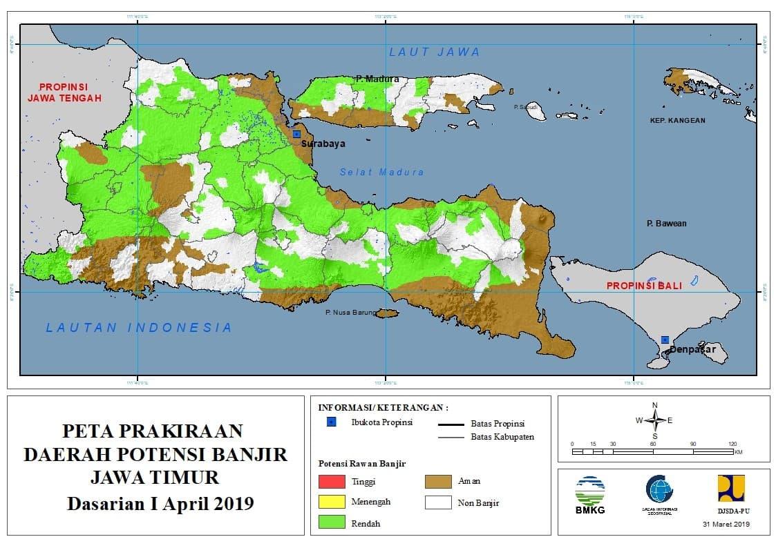 01 Prakiraan Dasarian Daerah Potensi Banjir di Provinsi Jawa Timur DASARIAN I Bulan APRIL Tahun 2019 update 31 Maret 2019