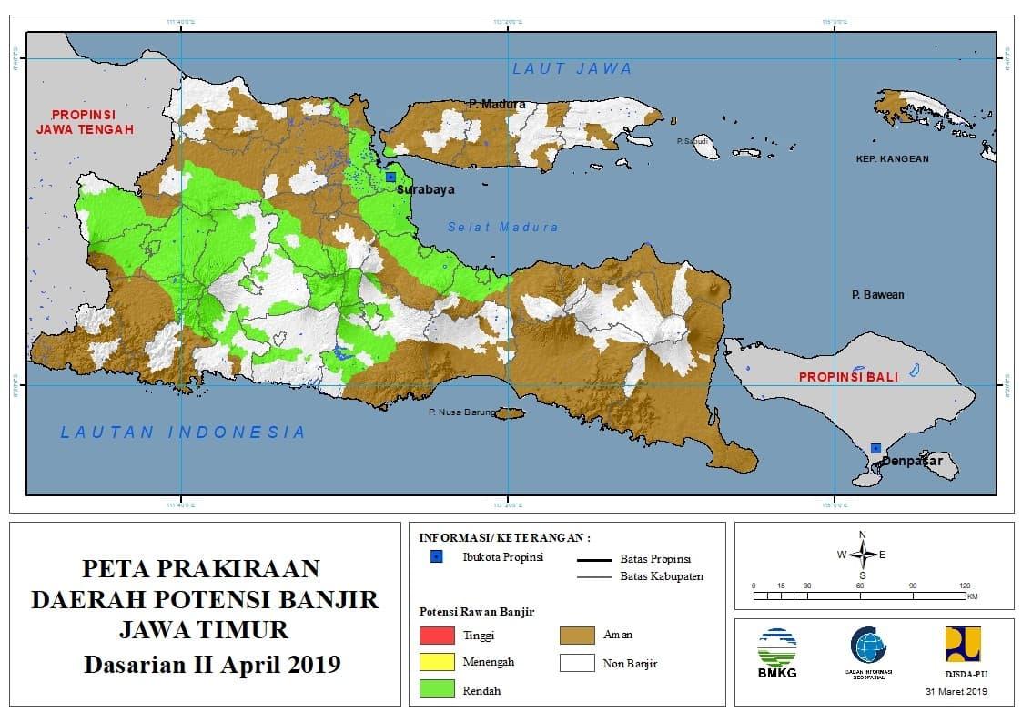 02 Prakiraan Dasarian Daerah Potensi Banjir di Provinsi Jawa Timur DASARIAN II Bulan APRIL Tahun 2019 update 31 Maret 2019