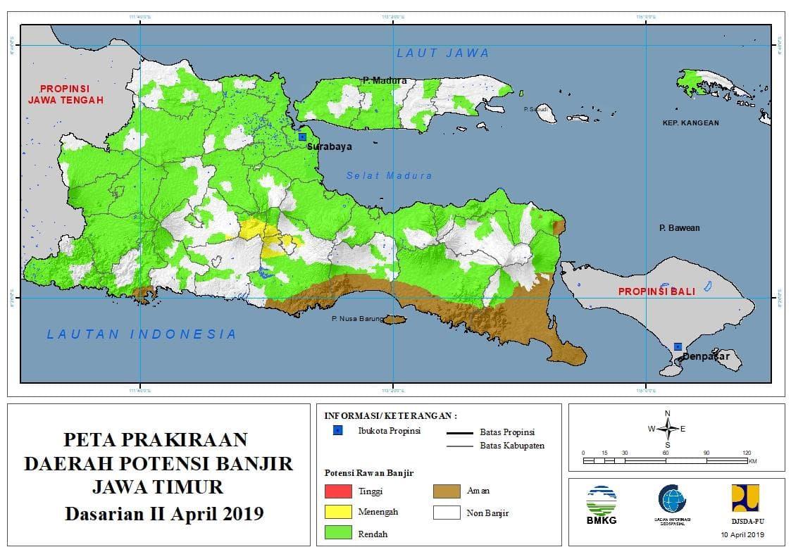 01 Prakiraan Dasarian Daerah Potensi Banjir di Provinsi Jawa Timur DASARIAN II Bulan APRIL Tahun 2019 update 10 April 2019