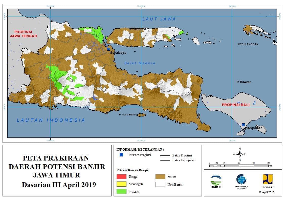 02 Prakiraan Dasarian Daerah Potensi Banjir di Provinsi Jawa Timur DASARIAN III Bulan APRIL Tahun 2019 update 10 April 2019