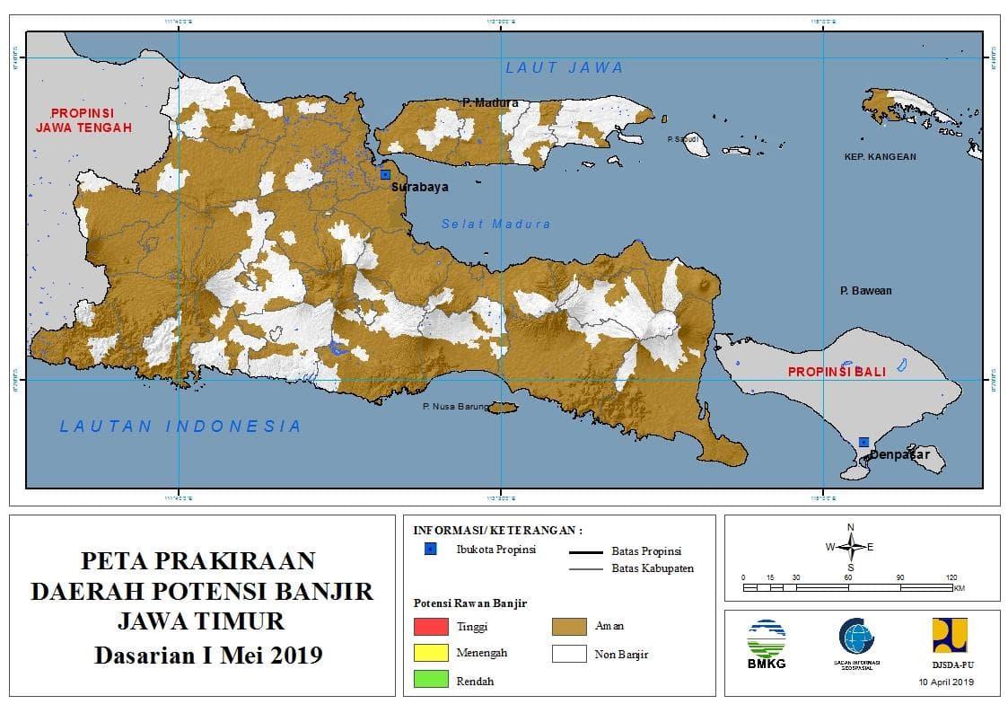 03 Prakiraan Dasarian Daerah Potensi Banjir di Provinsi Jawa Timur DASARIAN I Bulan MEI Tahun 2019 update 10 April 2019