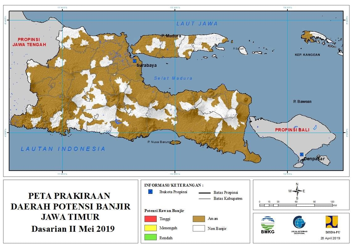 Prakiraan Bulanan Daerah Potensi Banjir di Provinsi Jawa Timur Bulan JULI 2019 update 10 April 2019