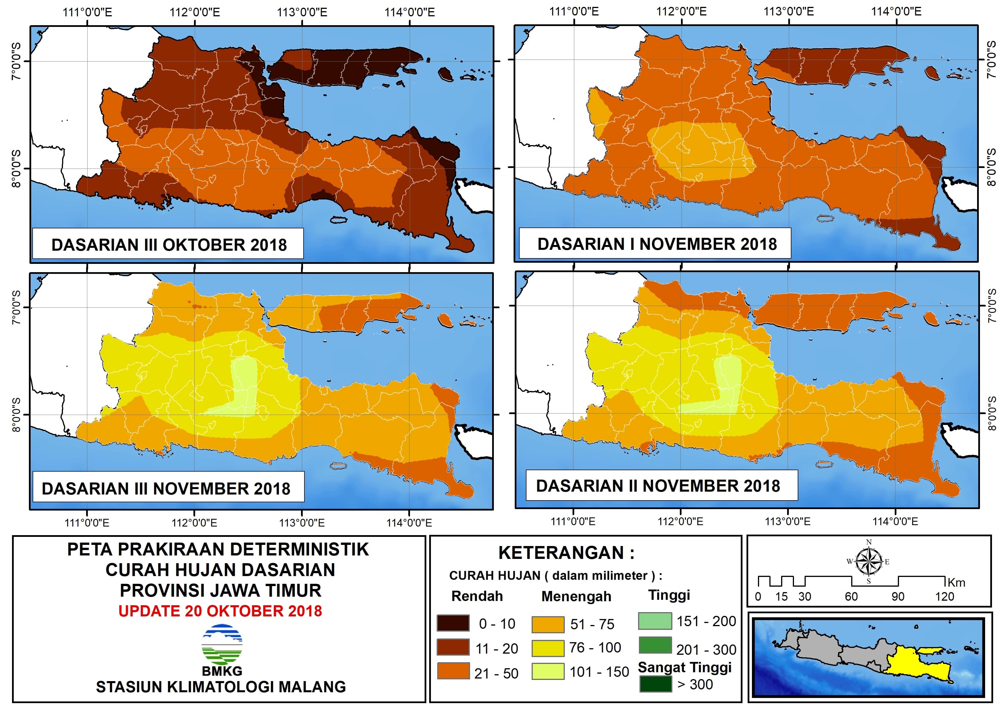 Prakiraan Deterministik Curah Hujan Dasarian III Provinsi Jawa Timur Update 20 Oktober 2018