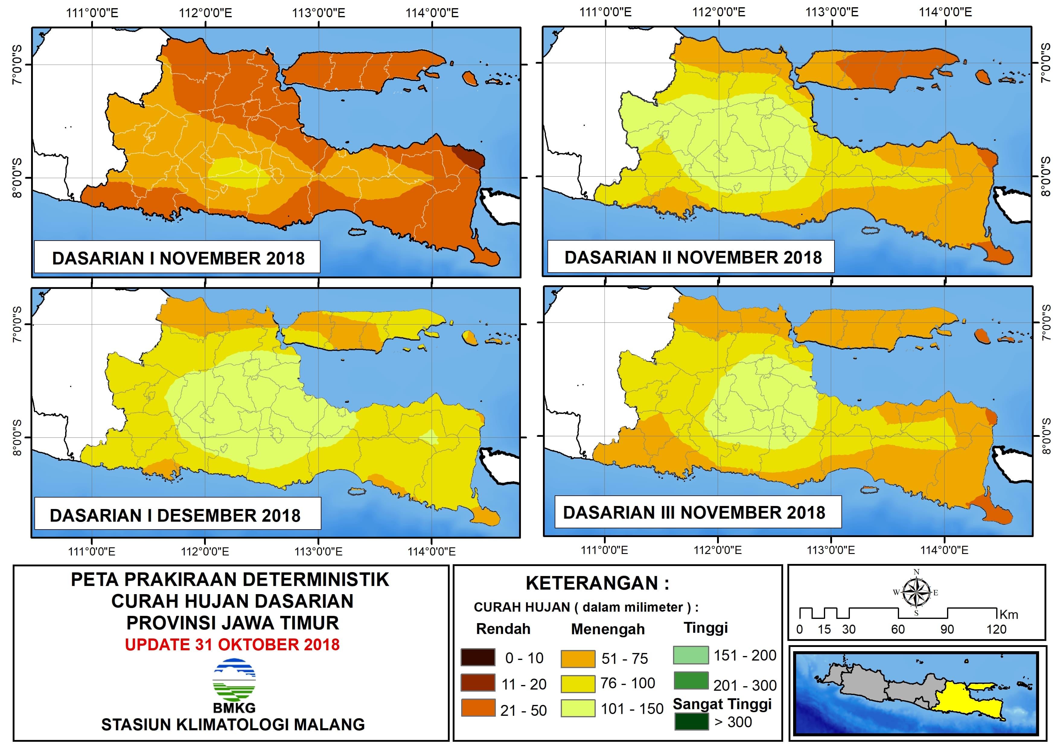 Prakiraan Deterministik Curah Hujan Dasarian Dasarian I November Provinsi Jawa Timur Update 31 Oktober 2018
