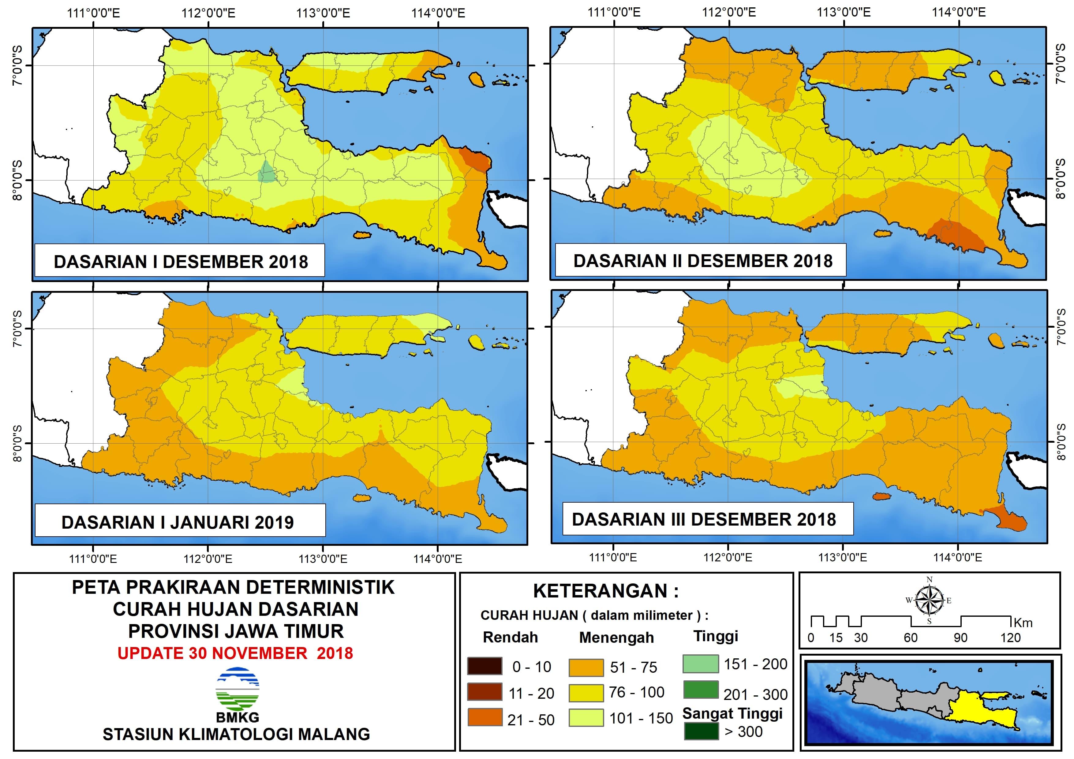 Peta Prakiraan Deterministik Curah Hujan Dasarian Provinsi Jawa Timur Update 30 November 2018