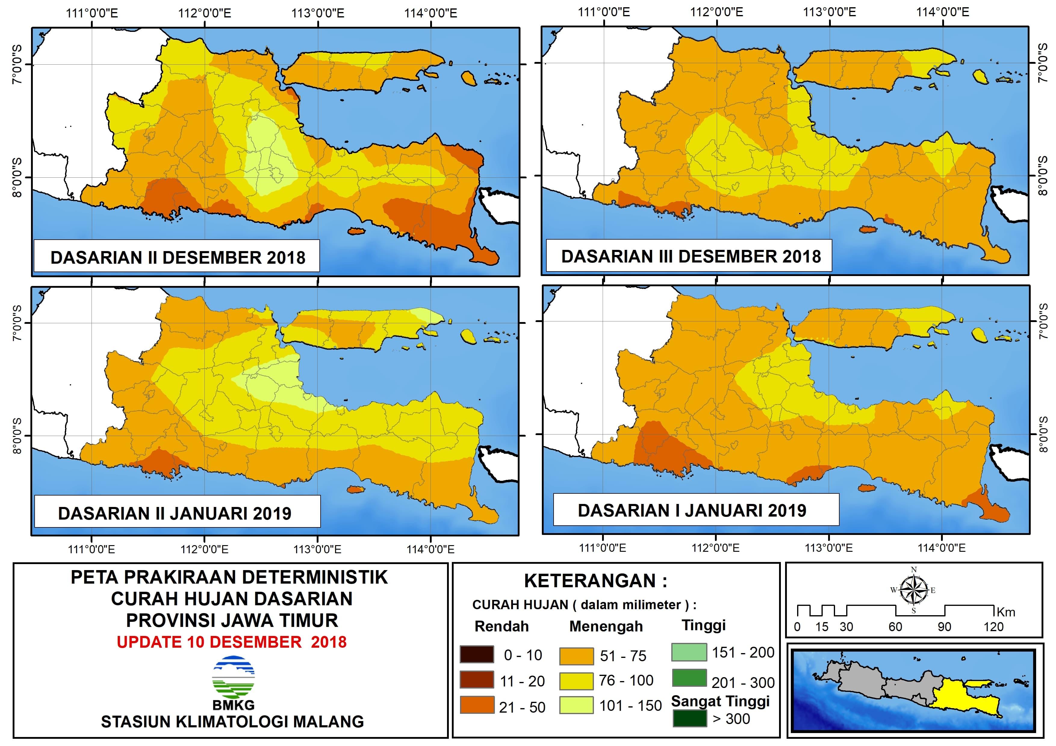 Peta Prakiraan Deterministik Curah Hujan Dasarian Provinsi Jawa Timur Update 10 Desember 2018