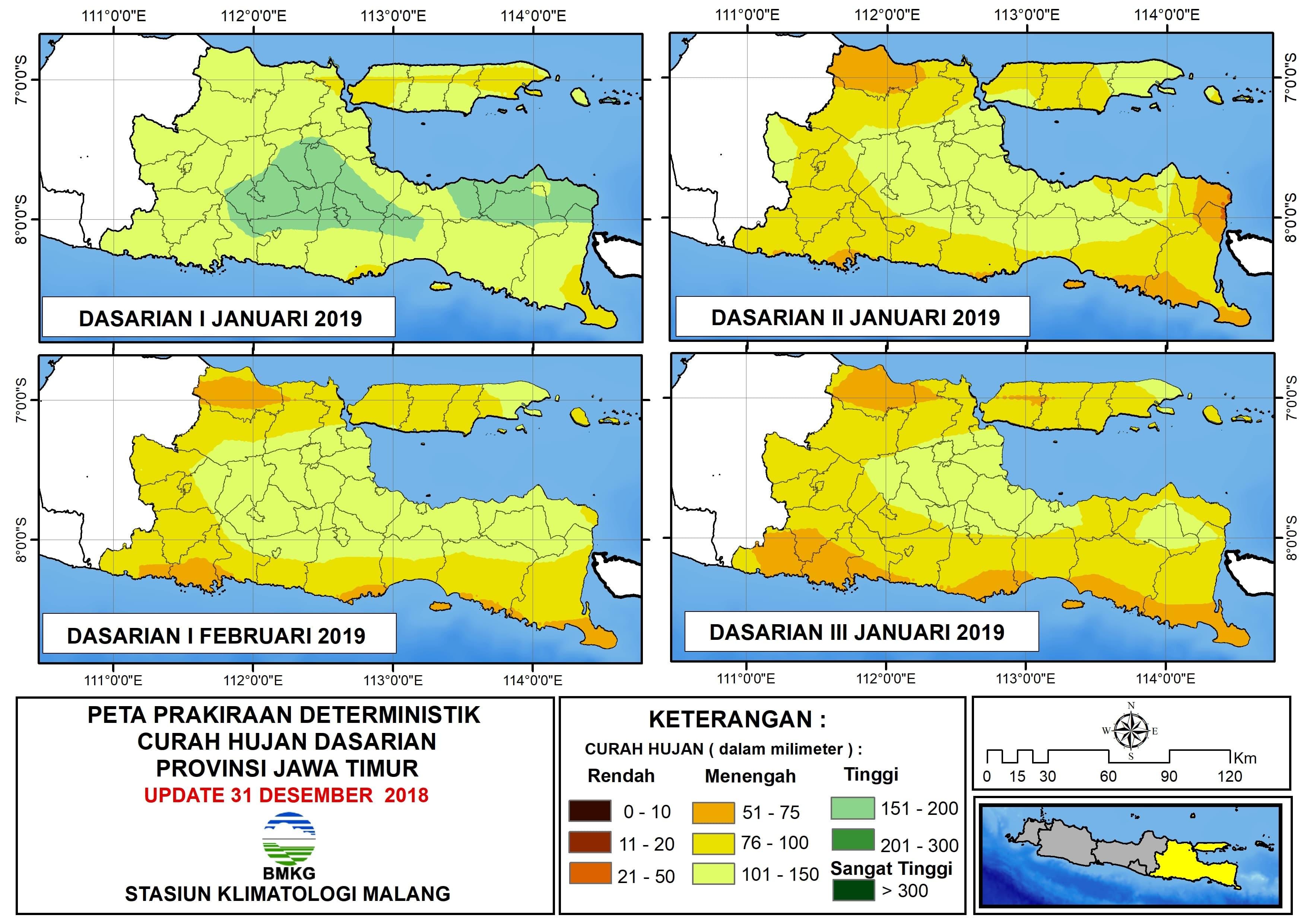 Peta Prakiraan Deterministik Curah Hujan Dasarian Provinsi Jawa Timur Update 30 Desember 2018
