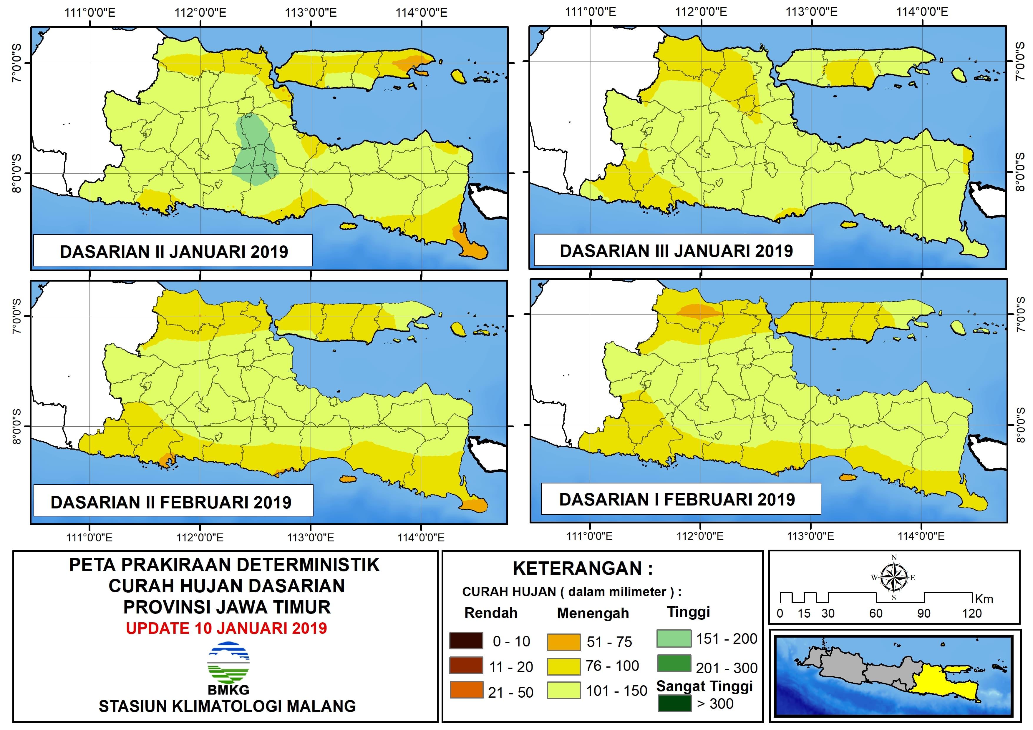 Peta Prakiraan Deterministik Curah Hujan Dasarian Provinsi Jawa Timur Update 10 Januari 2019