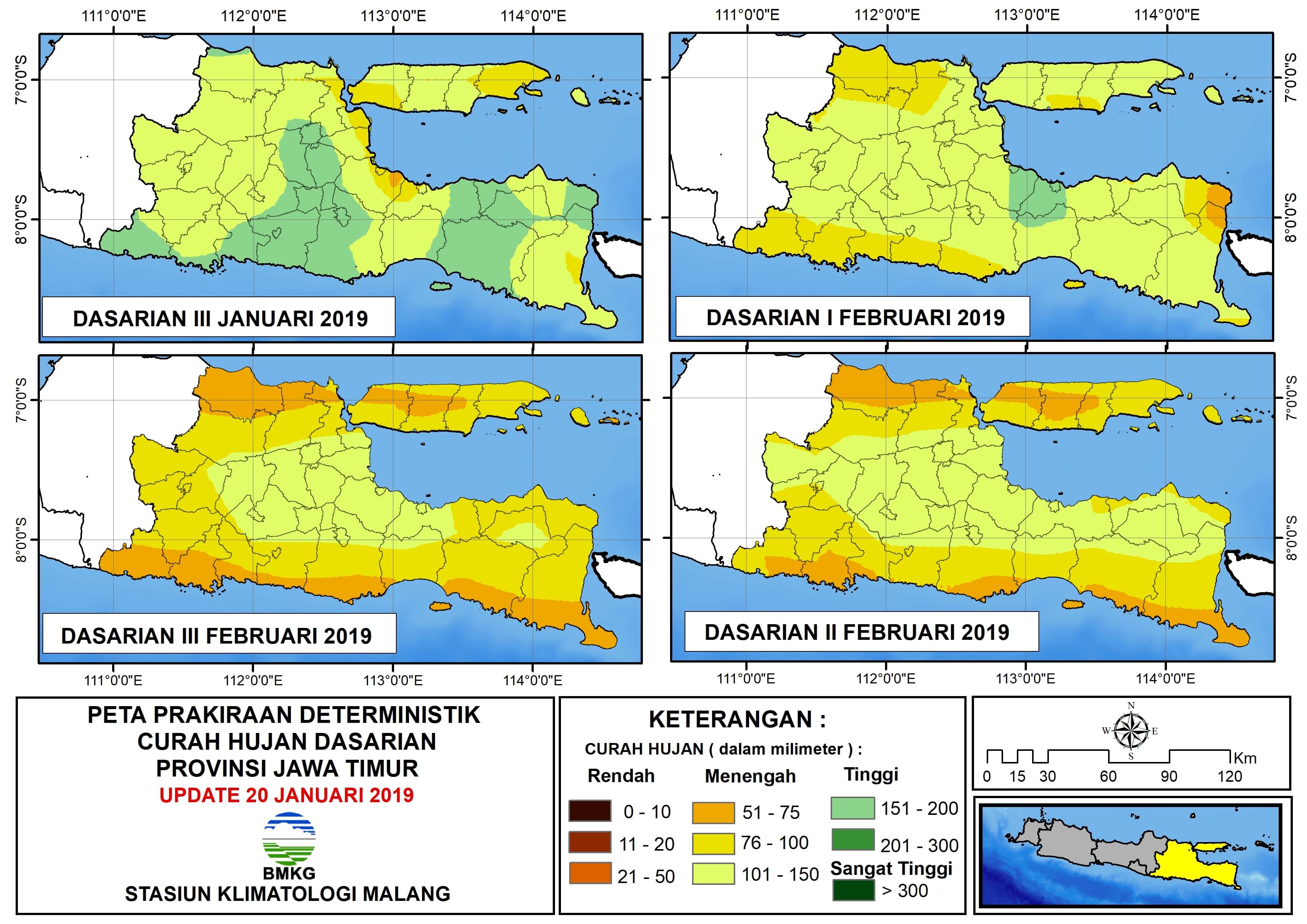 Peta Prakiraan Deterministik Curah Hujan Dasarian Provinsi Jawa Timur Update 20 Januari 2019