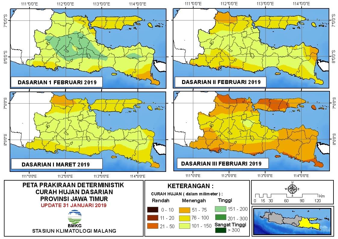 Peta Prakiraan Deterministik Curah Hujan Dasarian Provinsi Jawa Timur Update 31 Januari 2019
