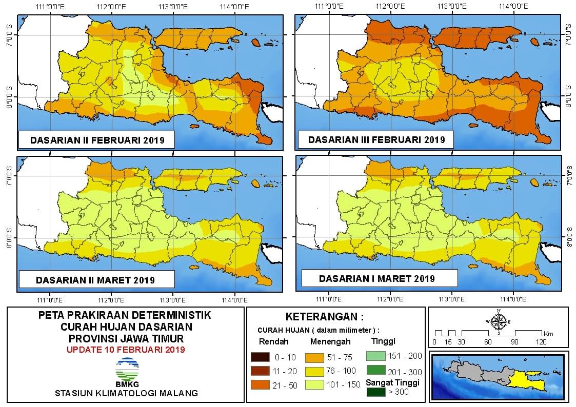Peta Prakiraan Deterministik Curah Hujan Dasarian Provinsi Jawa Timur Update 10 Februari 2019