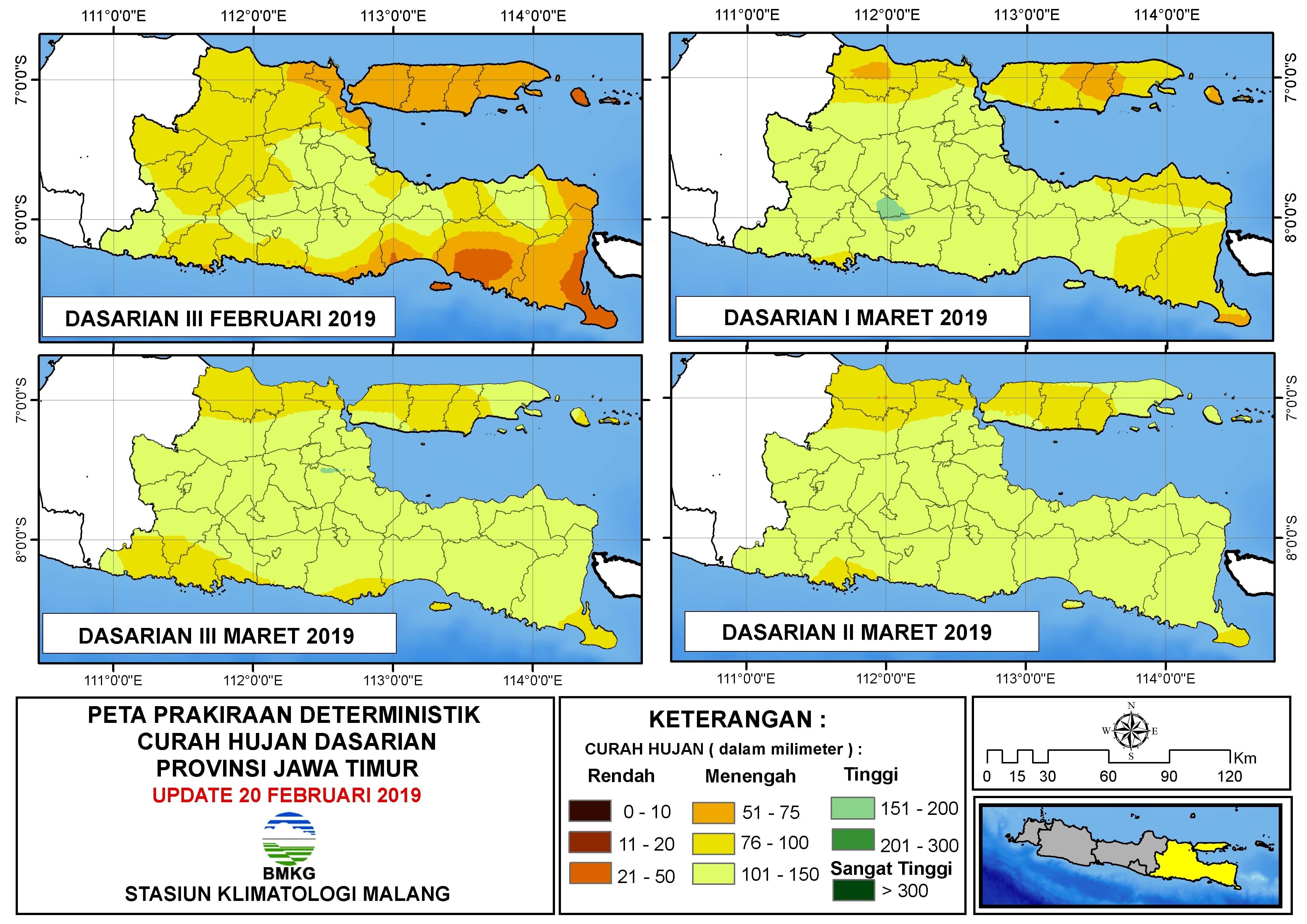 Peta Prakiraan Deterministik Curah Hujan Dasarian Provinsi Jawa Timur Update 20 Februari 2019