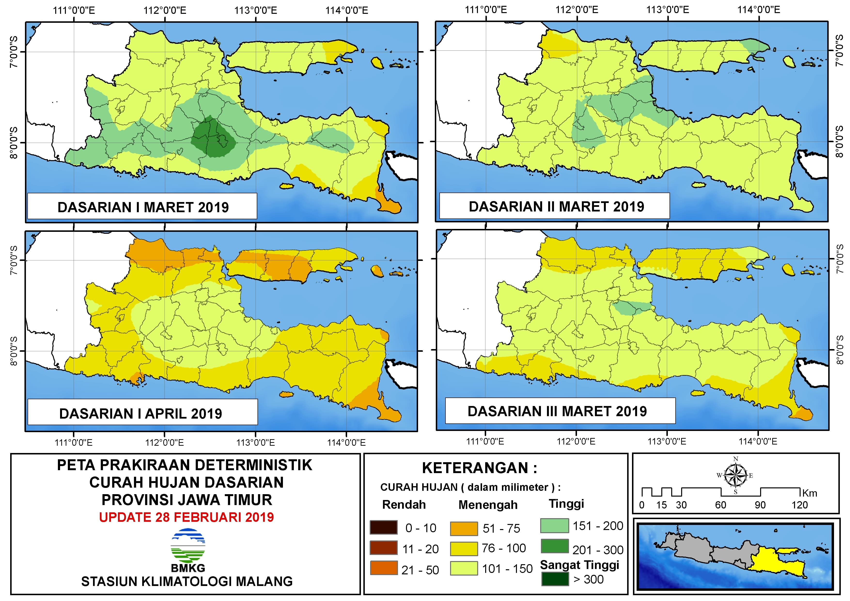 Peta Prakiraan Deterministik Curah Hujan Dasarian Provinsi Jawa Timur Update 28 Februari 2019