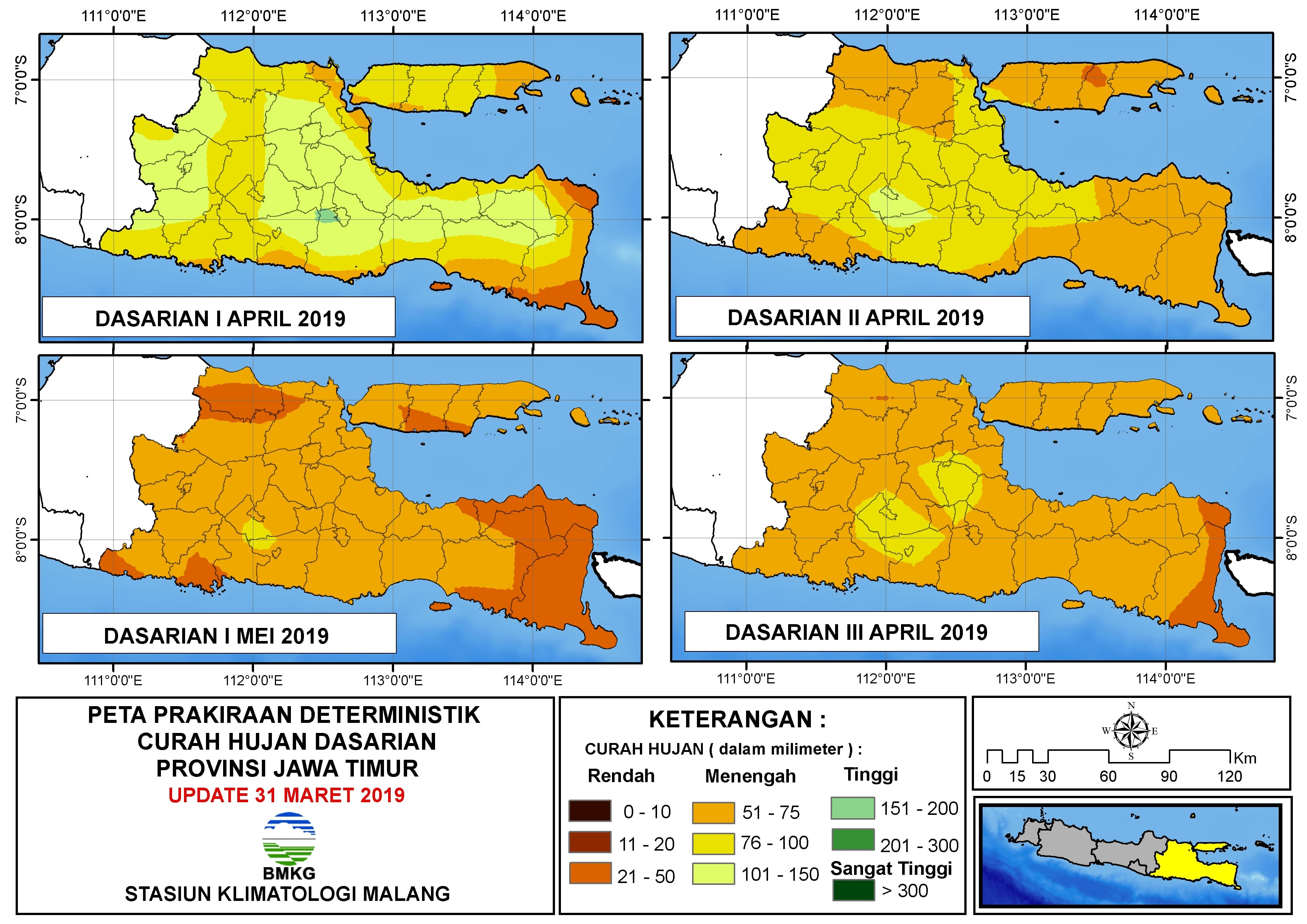 Peta Prakiraan Deterministik Curah Hujan Dasarian I III April I Mei Tahun 2019 Provinsi Jawa Timur Update 31 Maret 2019