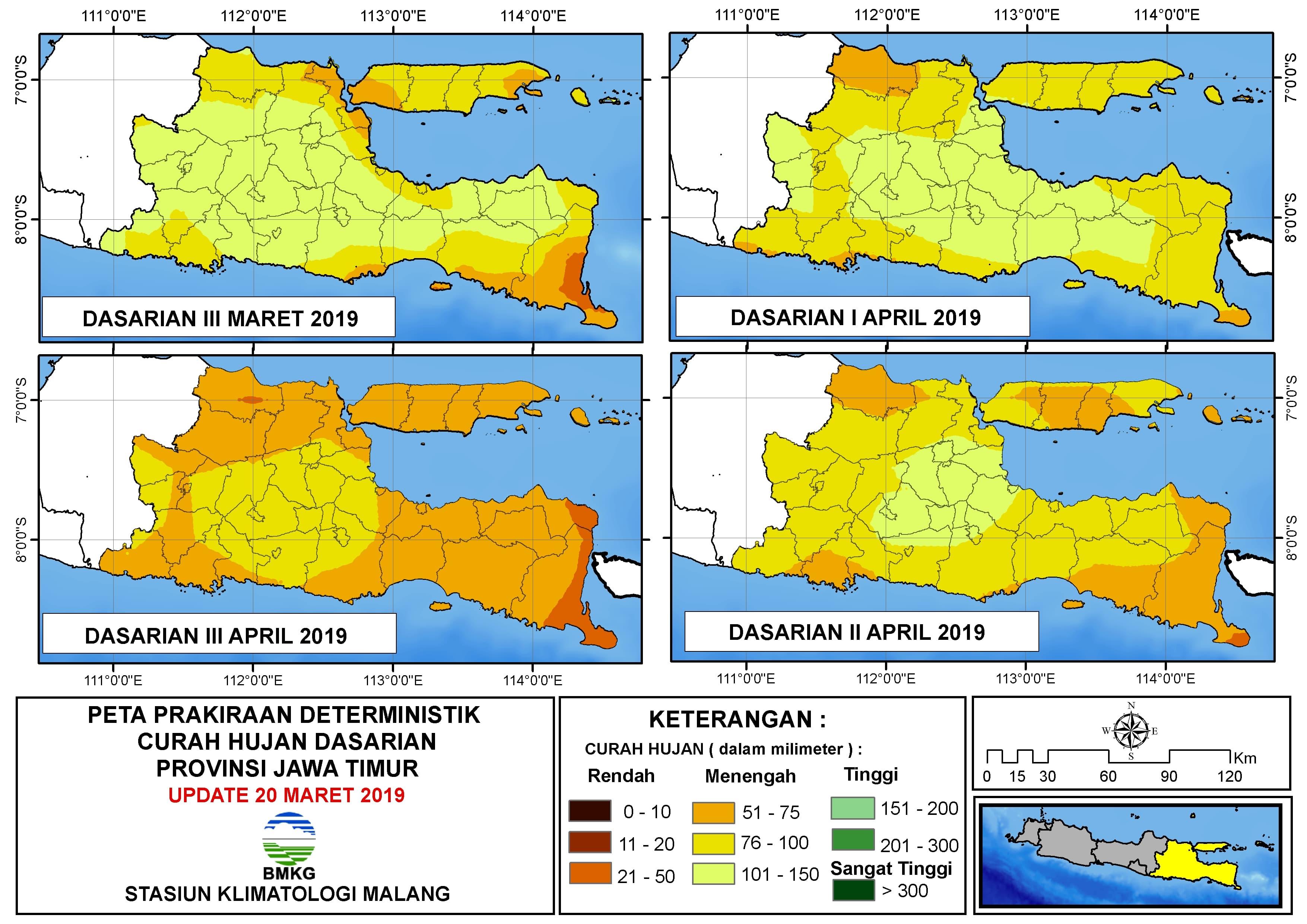 Peta Prakiraan Deterministik Curah Hujan Dasarian Provinsi Jawa Timur Update 20 Maret 2019
