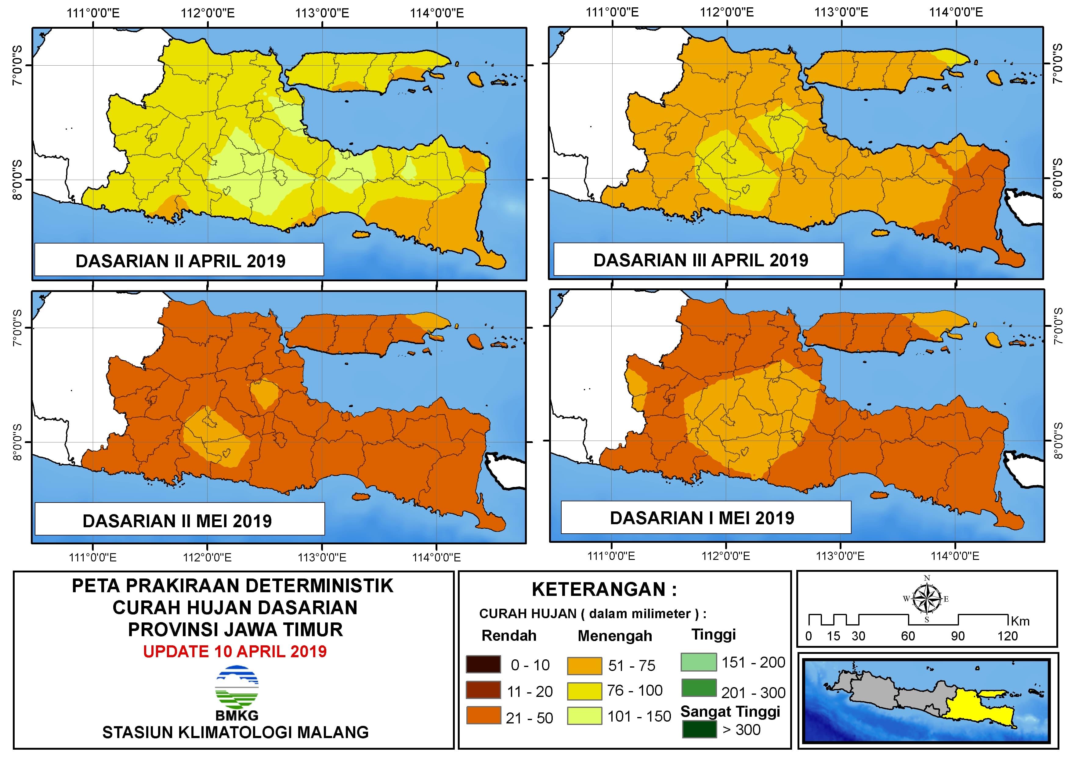 Peta Prakiraan Deterministik Curah Hujan Dasarian Provinsi Jawa Timur Update 10 April 2019