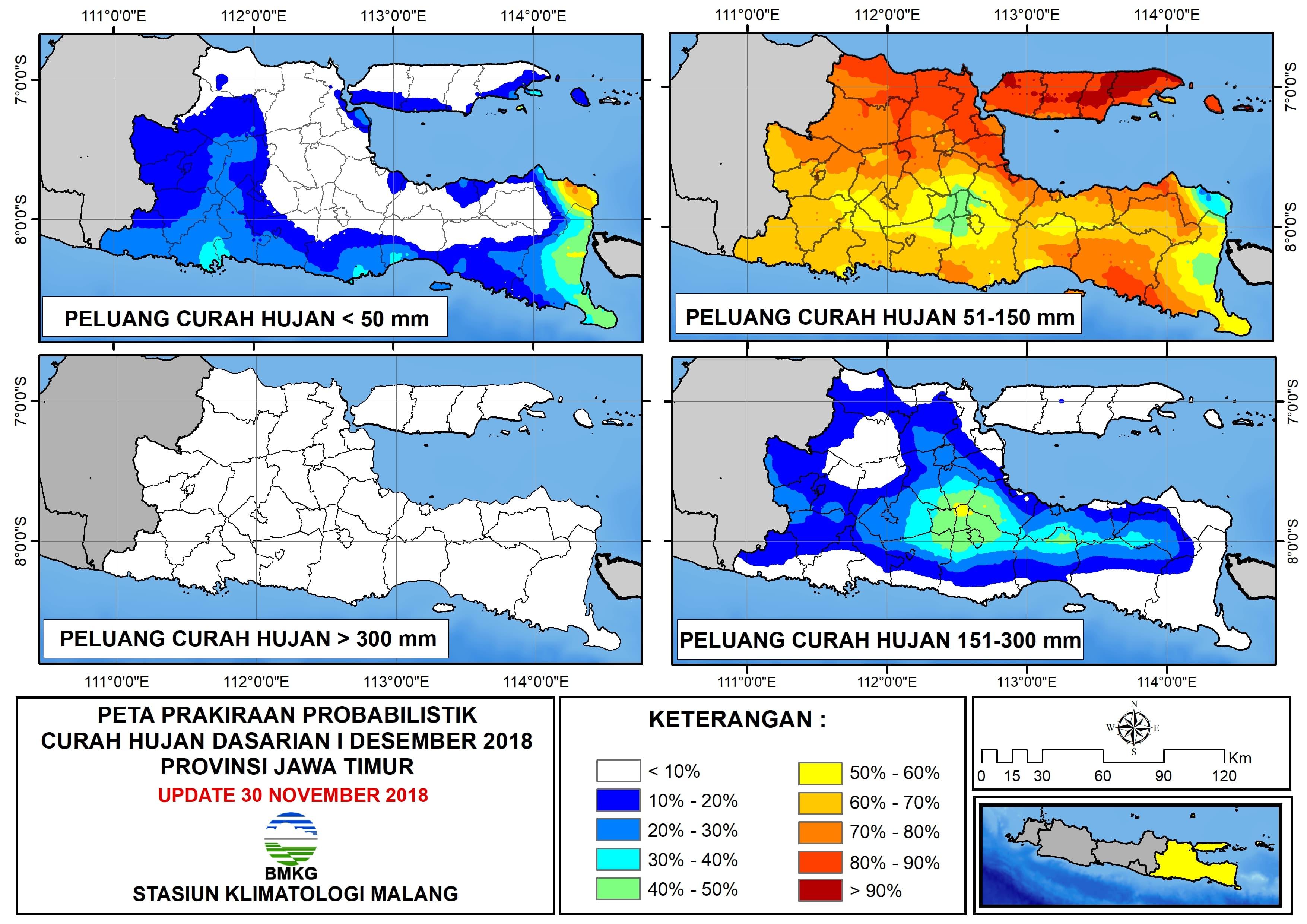 Peta Prakiraan Probabilistik Curah Hujan Dasarian I Desember Provinsi Jawa Timur Update 30 November 2018